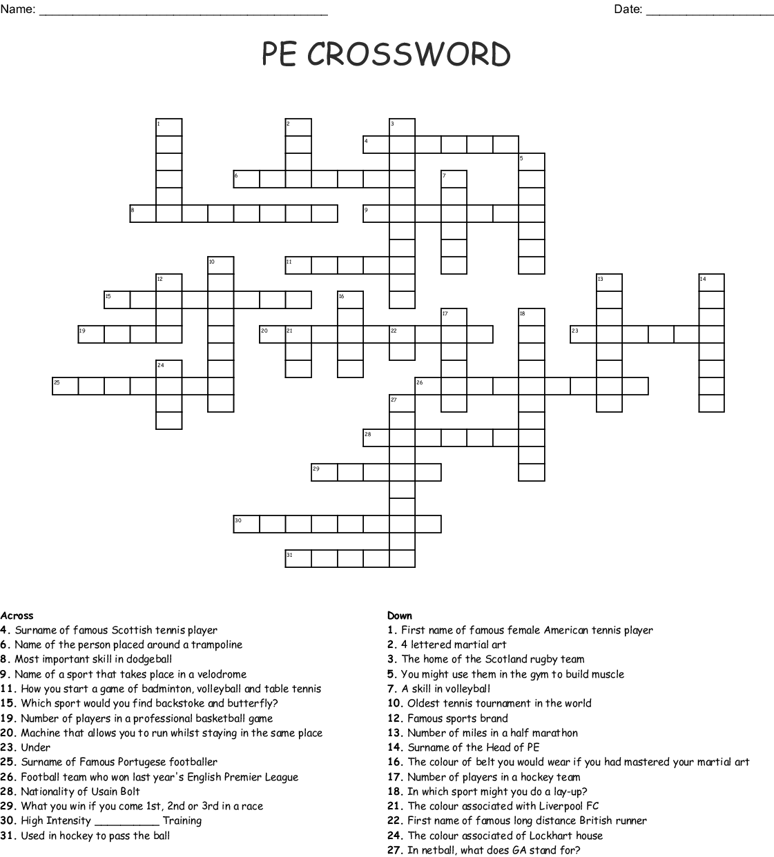 Do You Know Sports Crossword Wordmint