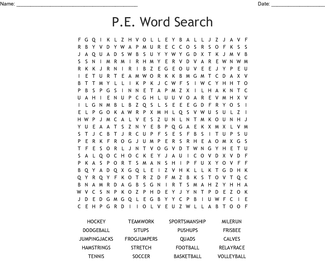P.E. Word Search - WordMint