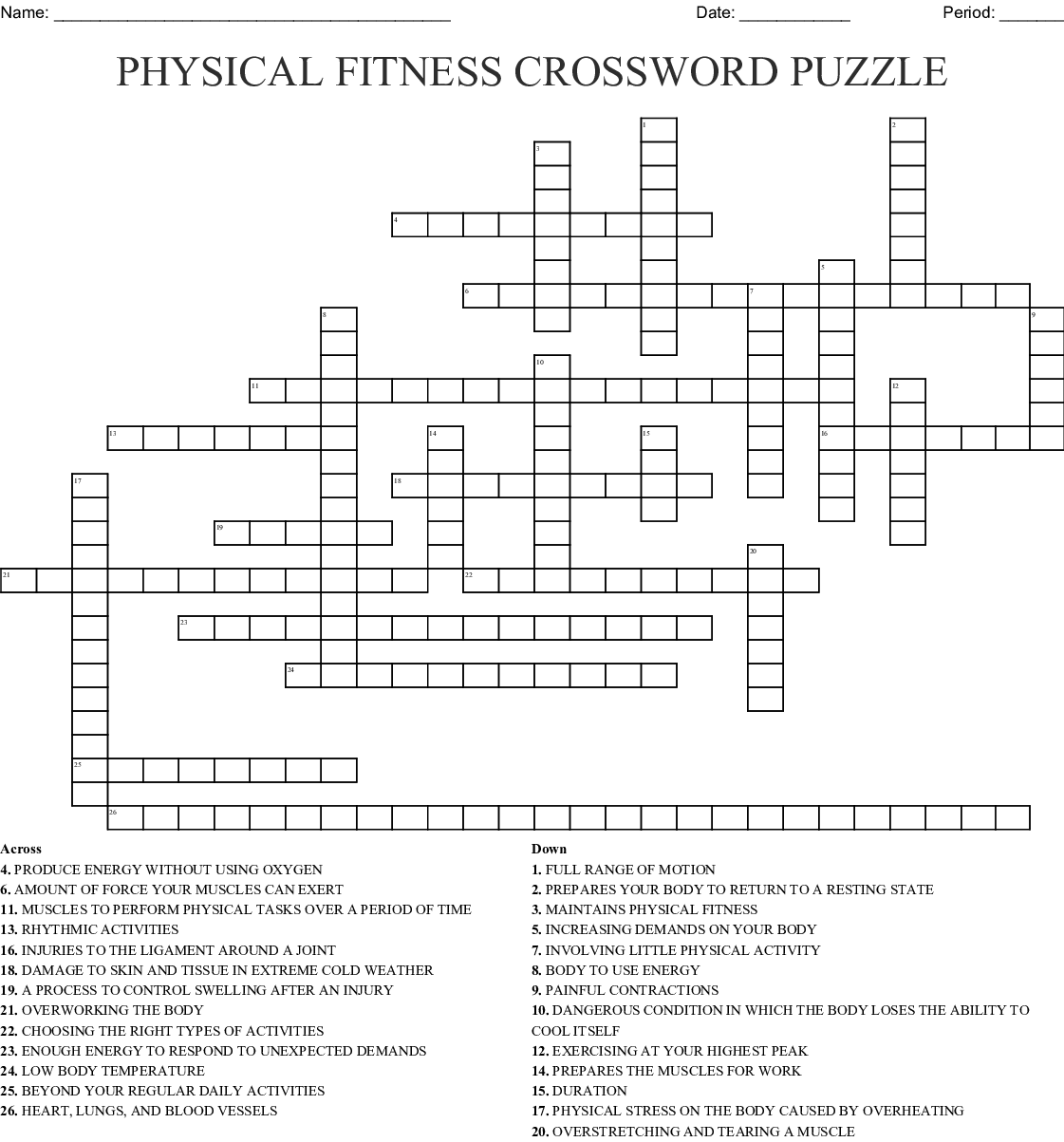 Physical Fitness Crossword Puzzle Wordmint