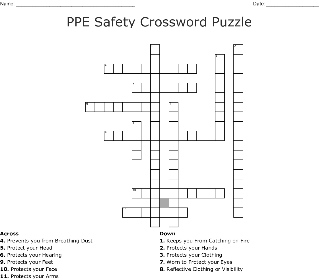 Ppe Safety Crossword Puzzle Crossword Wordmint