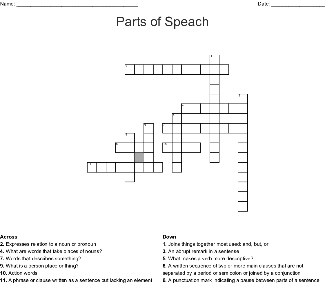 English Punctuation Crossword - WordMint