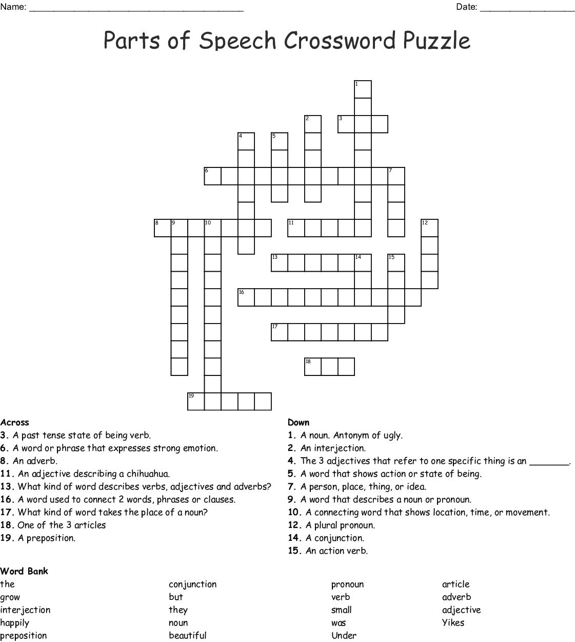 Grammar Crossword Puzzle Wordmint