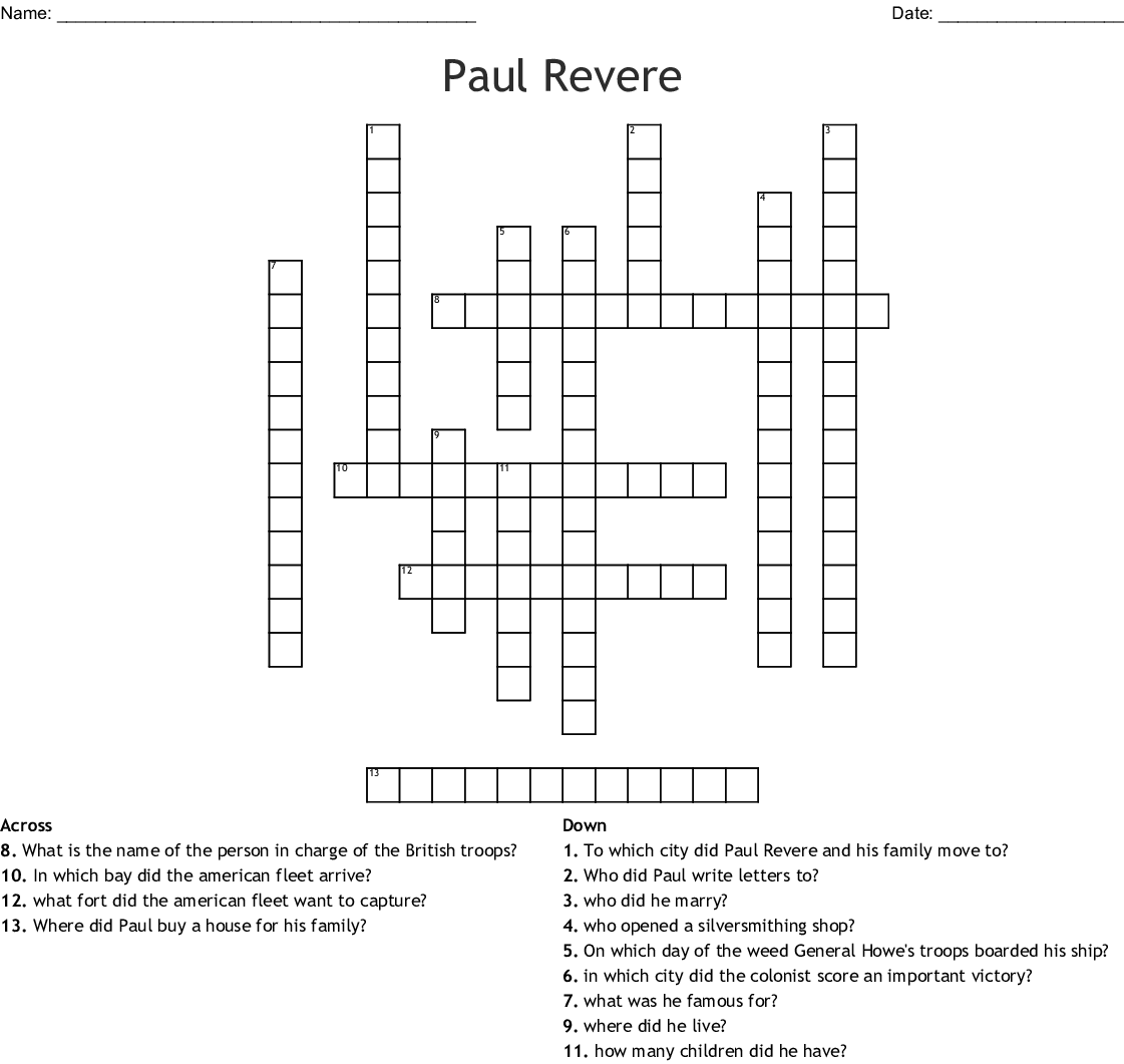 Paul Revere Crossword Wordmint