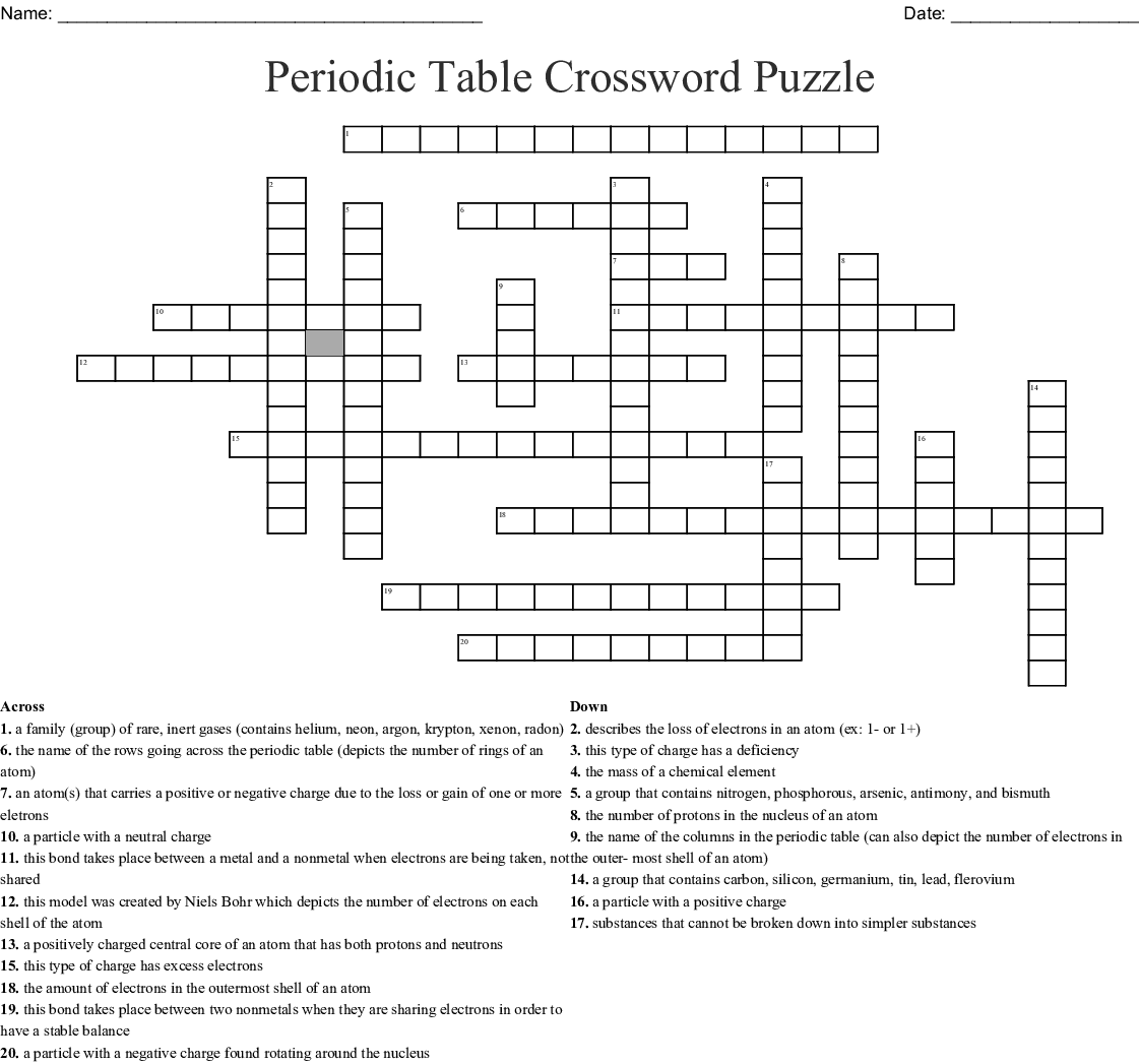 Periodic Table Crossword Puzzle - WordMint