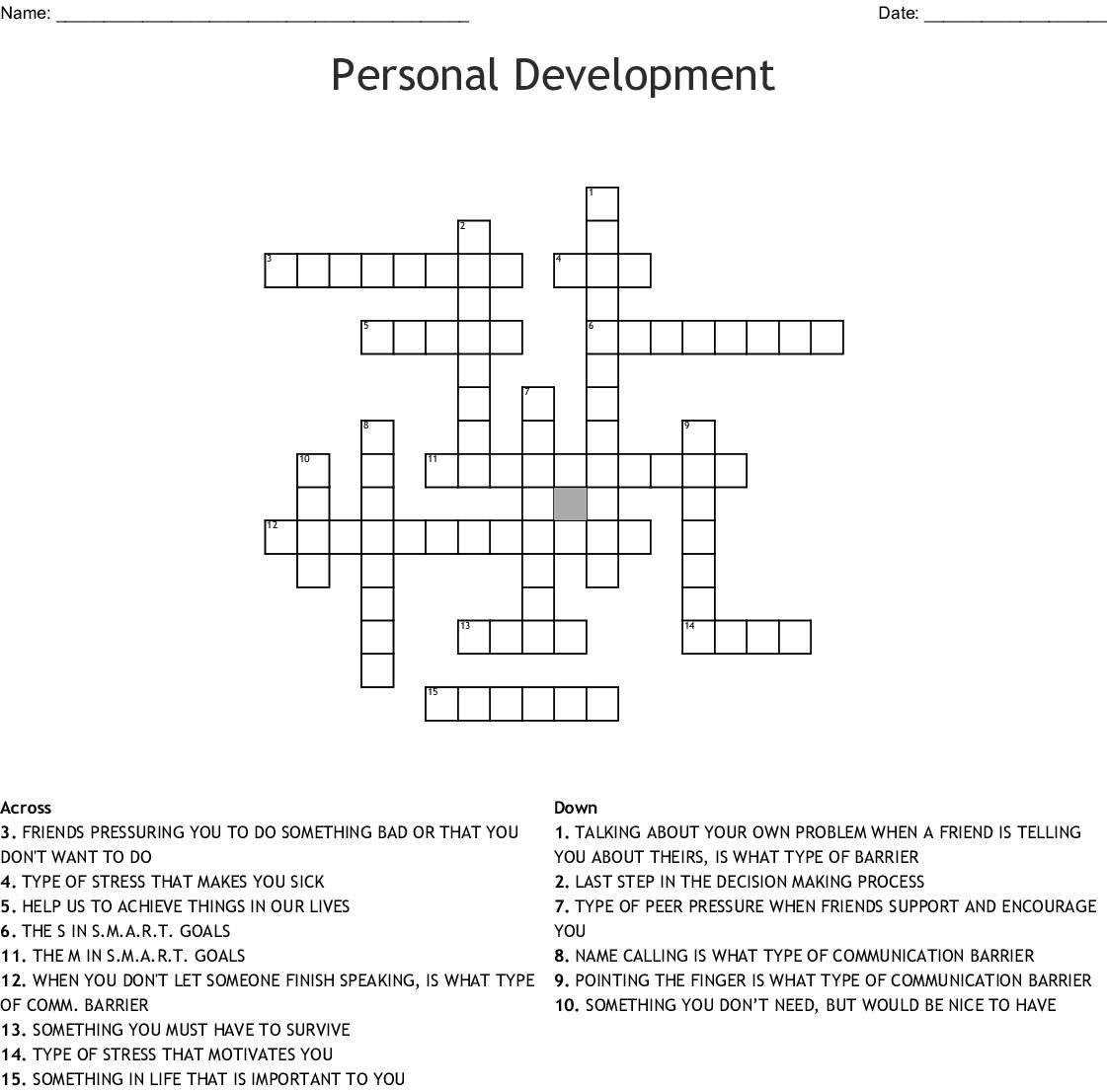 Decision Making Crossword Puzzle Wordmint