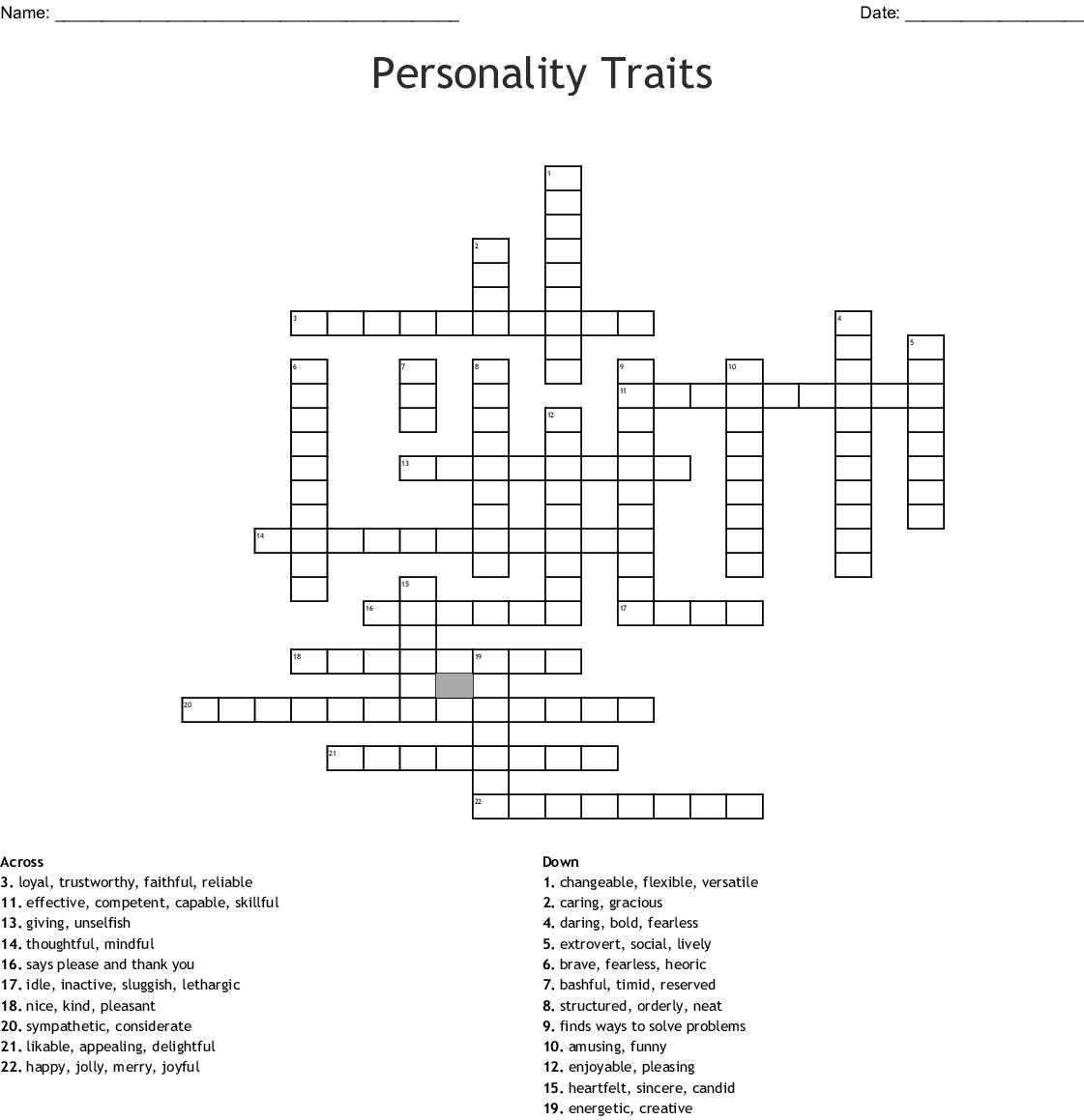 Personality Traits Crossword Wordmint