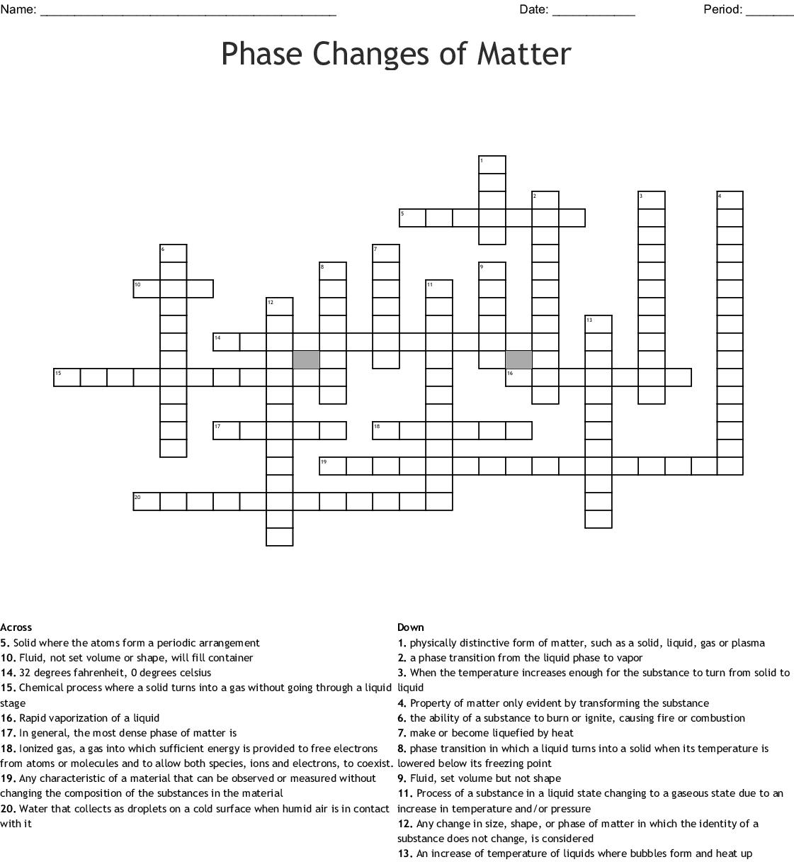 Changes of State Crossword - WordMint