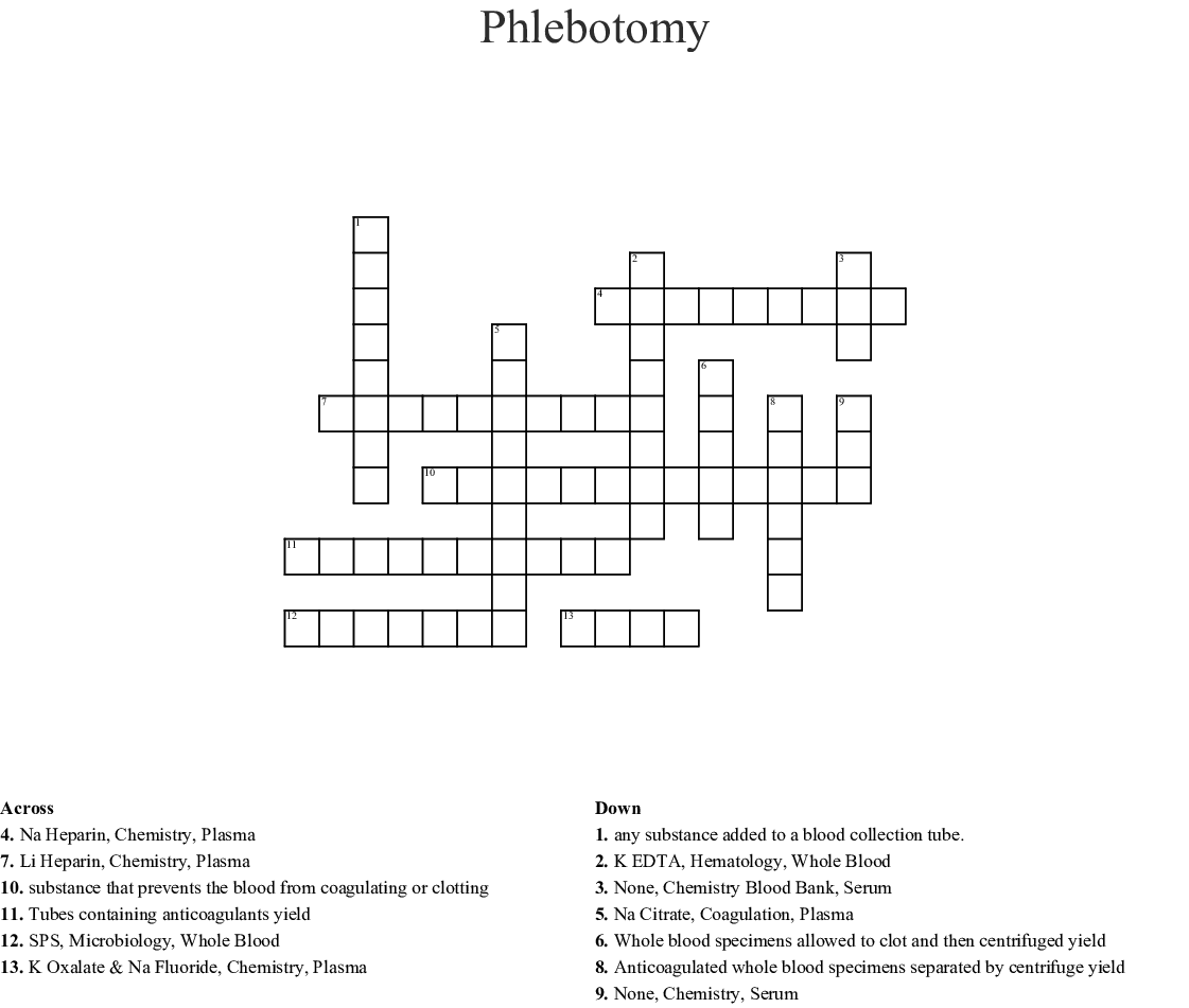 photograph regarding Free Printable Phlebotomy Practice Test identify Phlebotomy Crossword - WordMint