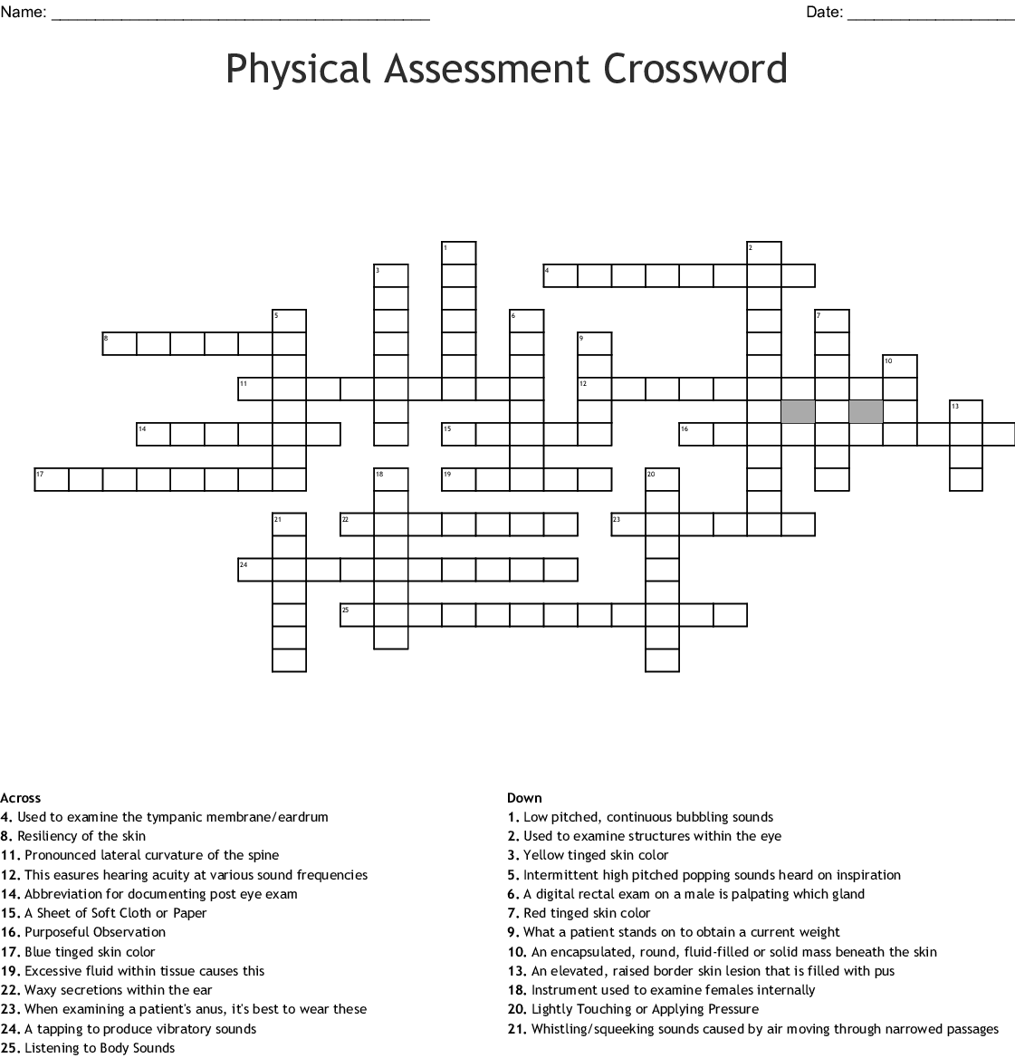 Physical Assessment Crossword Wordmint Prep for a quiz or learn for fun! physical assessment crossword wordmint