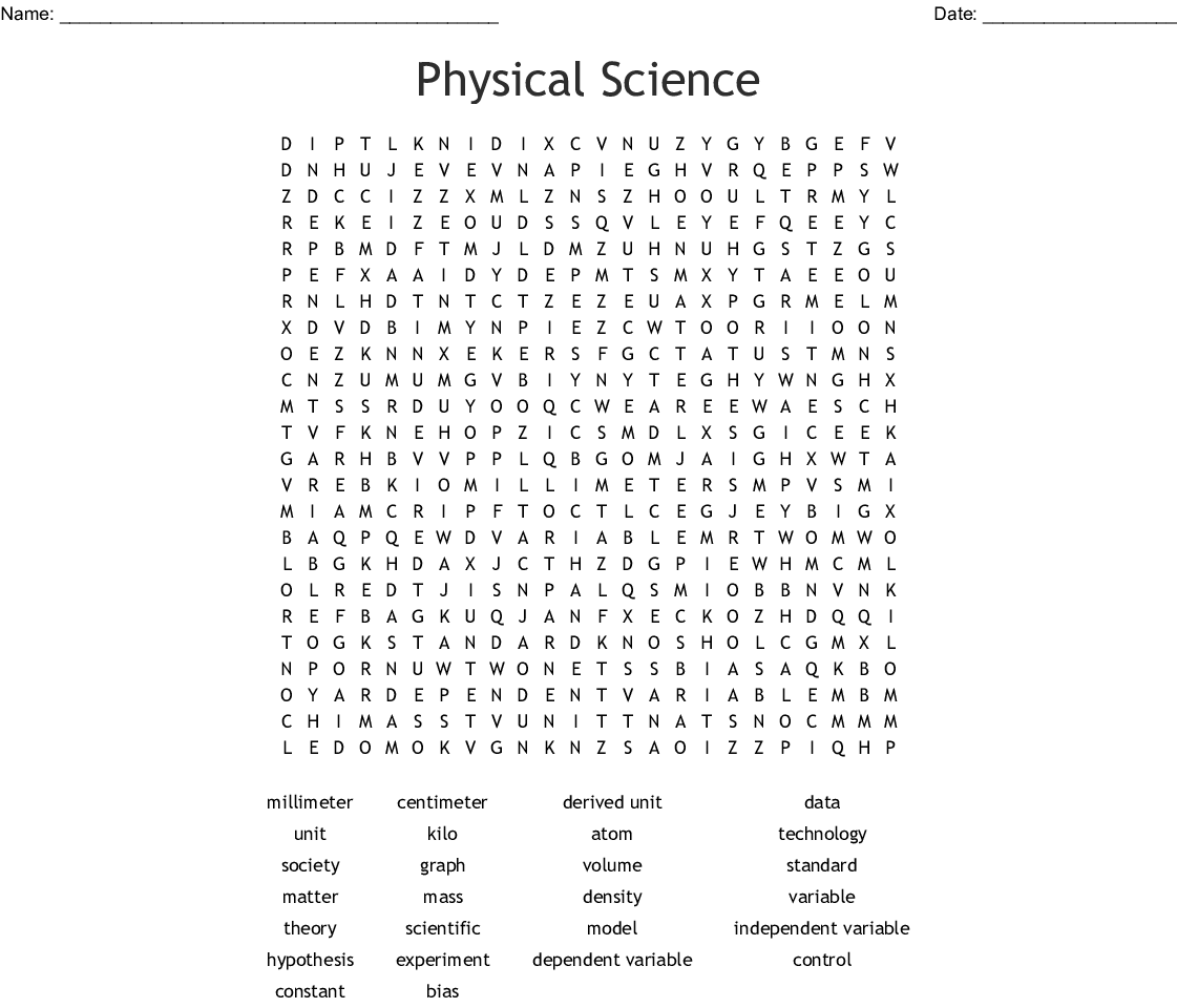 image relating to Science Word Search Printable called Actual physical Science Term Glimpse - WordMint