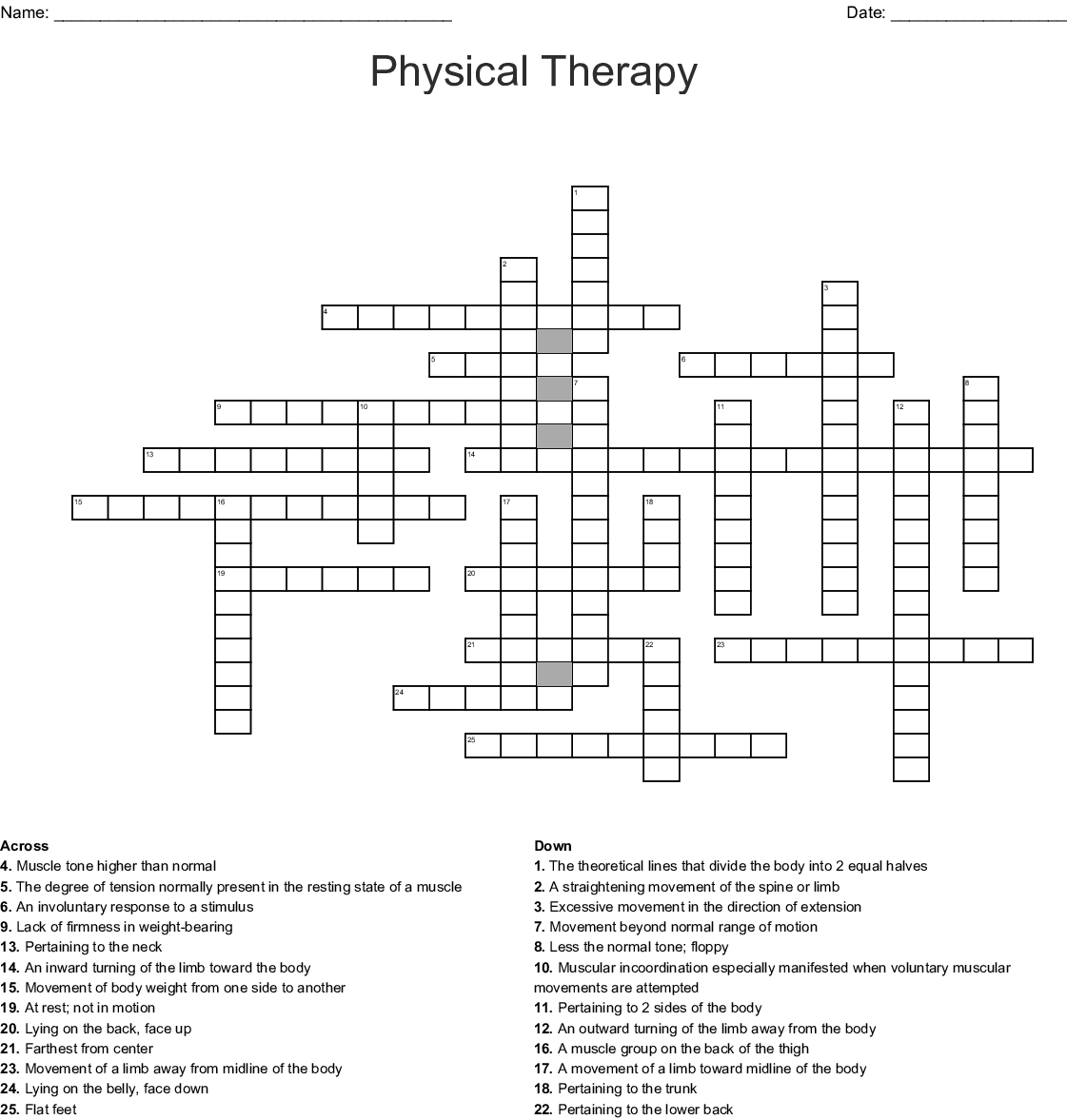 Physical Therapy Crossword Wordmint