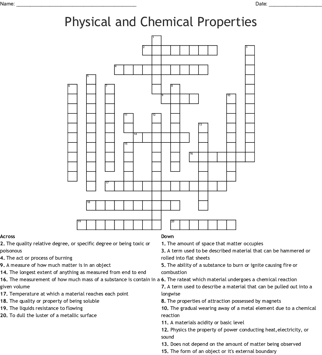 Physical and Chemical Properties Crossword - WordMint