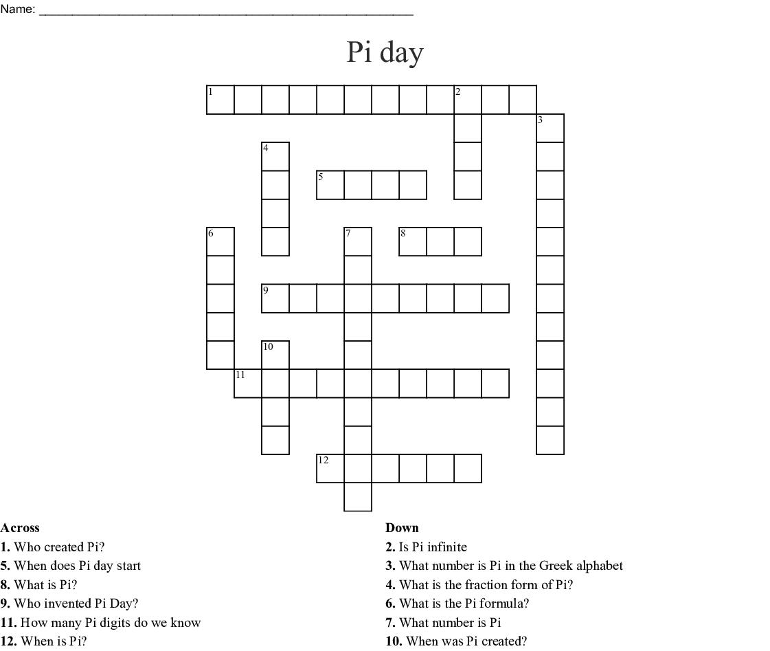 Pi day Crossword - WordMint
