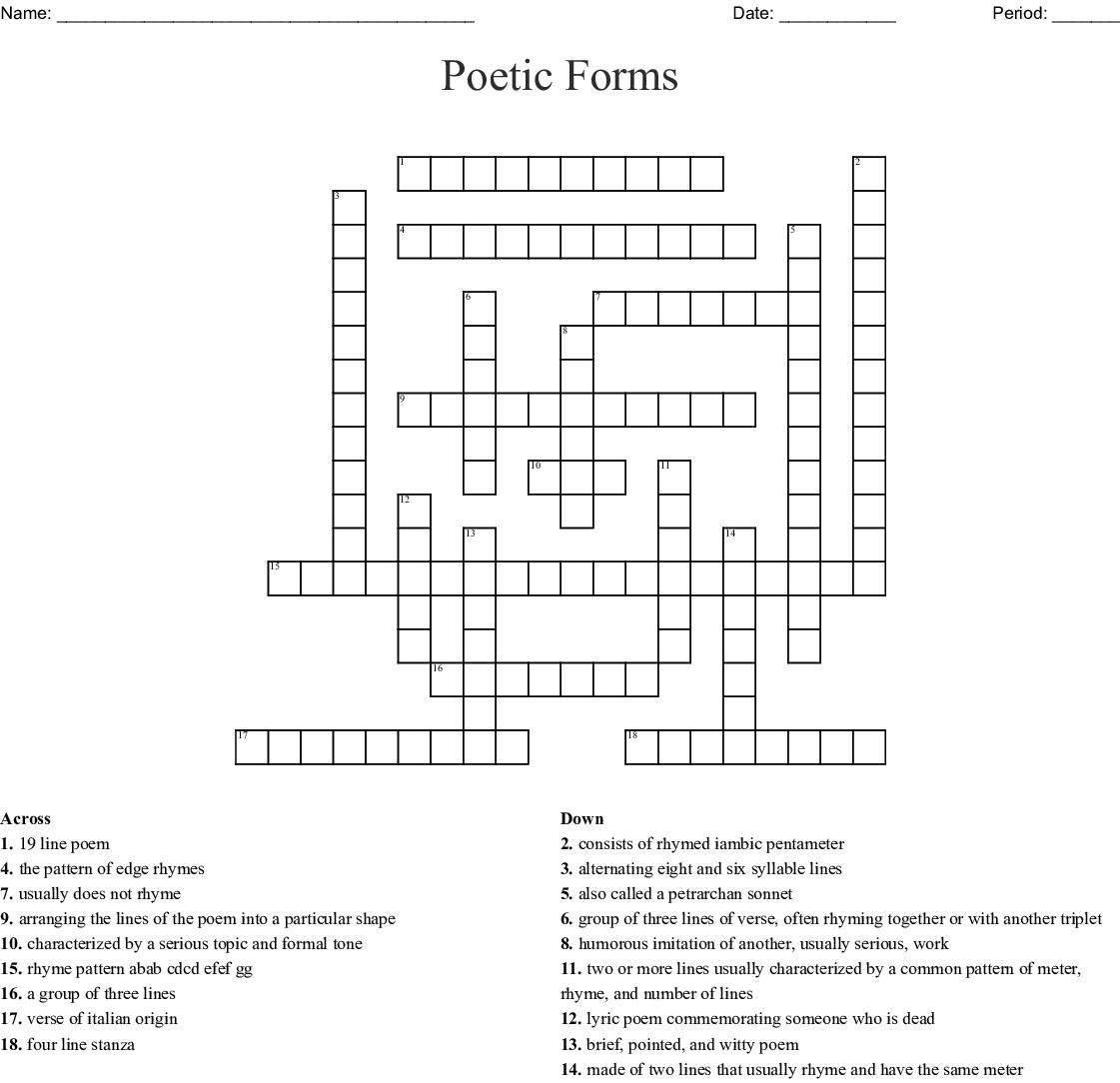 Poetic Forms Crossword Wordmint