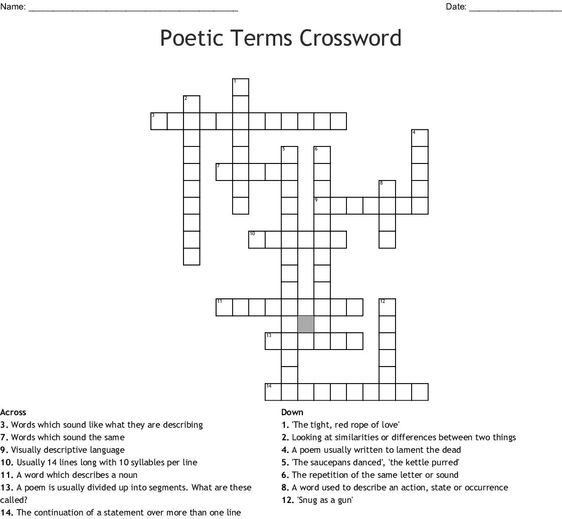 Poetic Terms Crossword - WordMint
