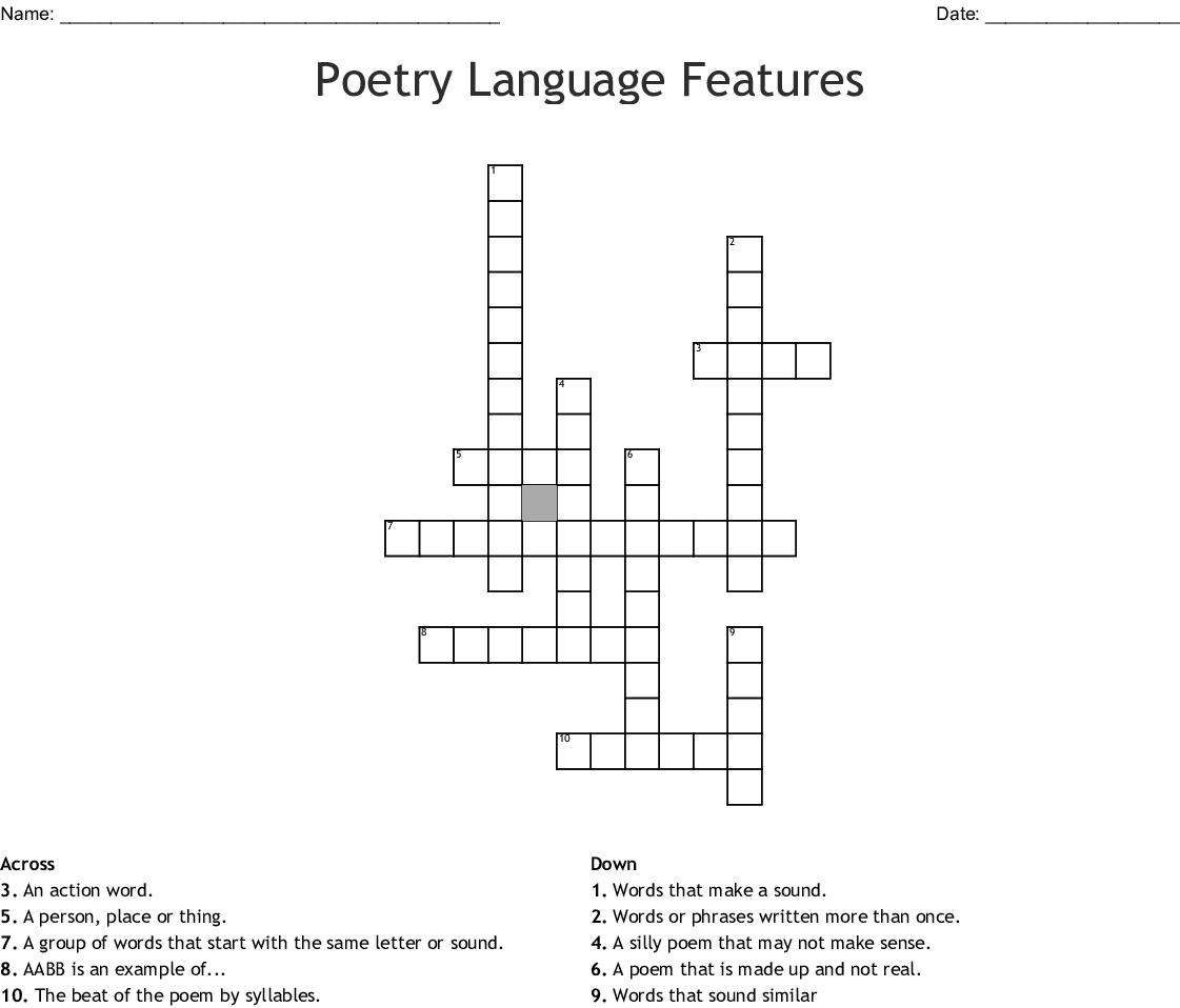 Poetry Language Features Crossword Wordmint