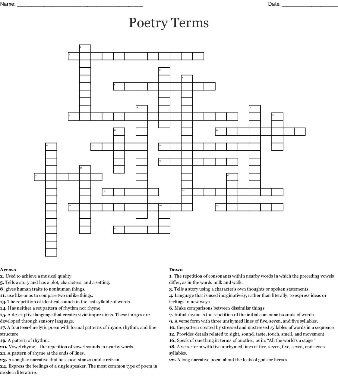 Literary Terms Crossword Puzzle (1-20) - WordMint