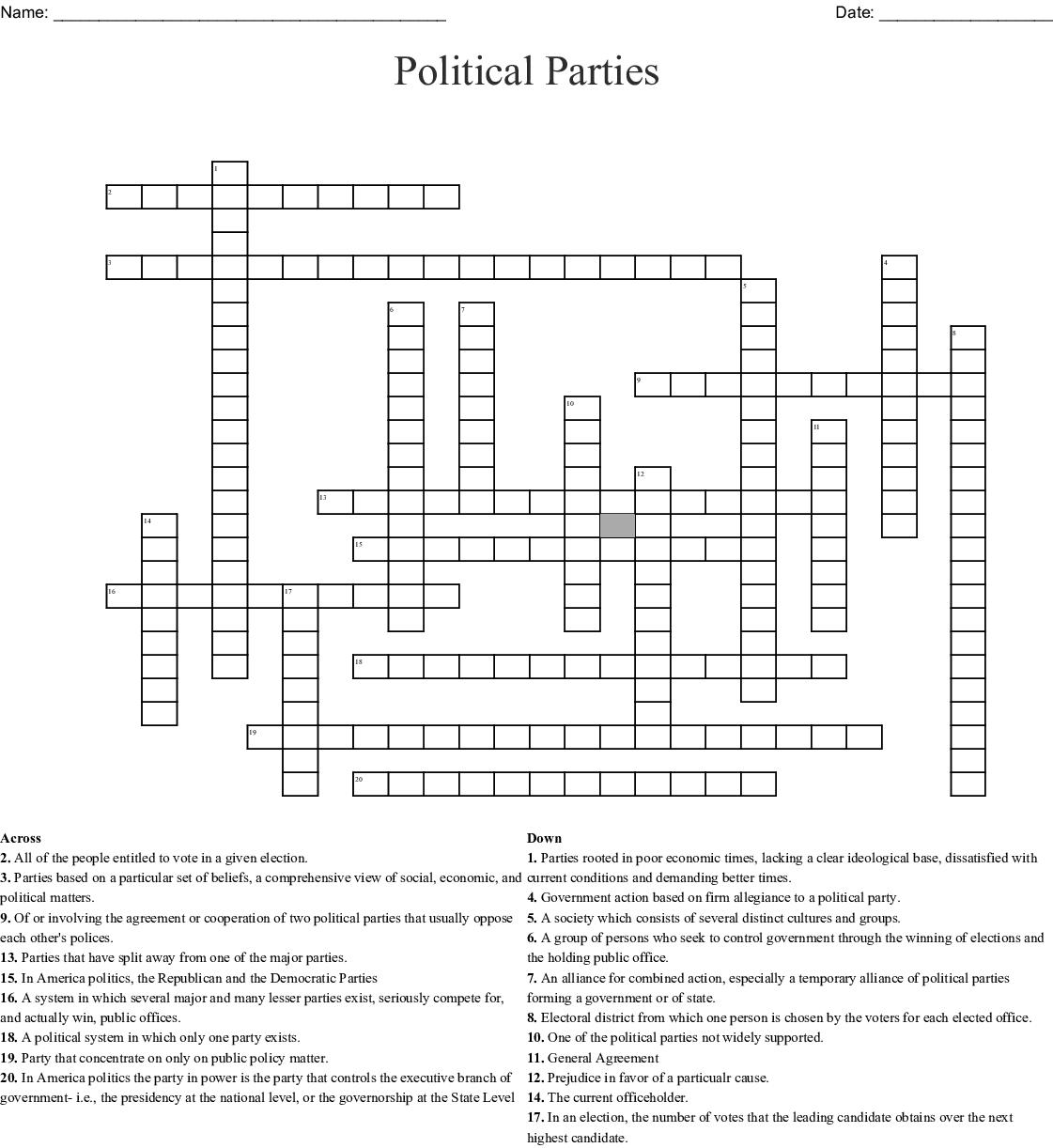 Political Parties Crossword Wordmint
