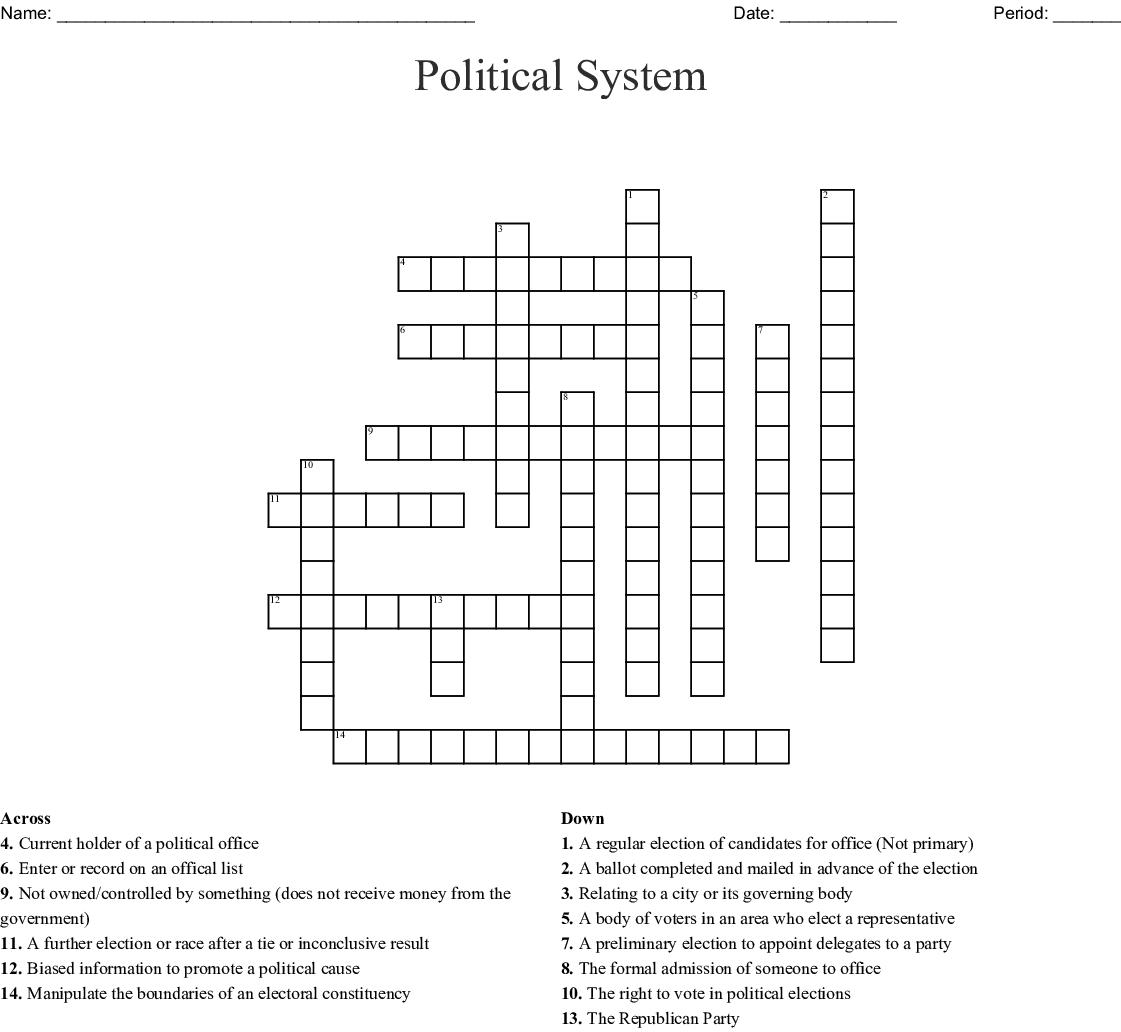 Political System Crossword Wordmint
