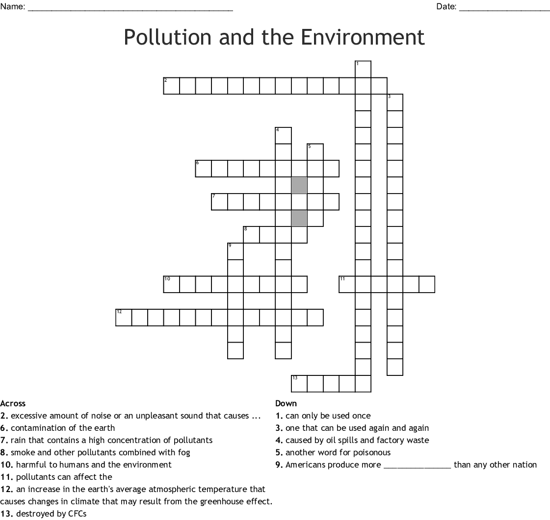 Pollution And The Environment Crossword Wordmint