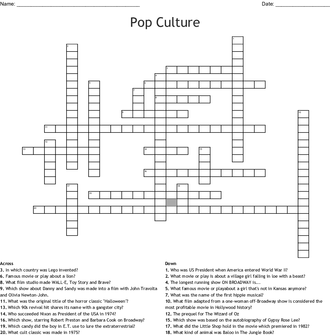 graphic relating to Celebrity Crossword Printable titled Pop Tradition Crossword - WordMint