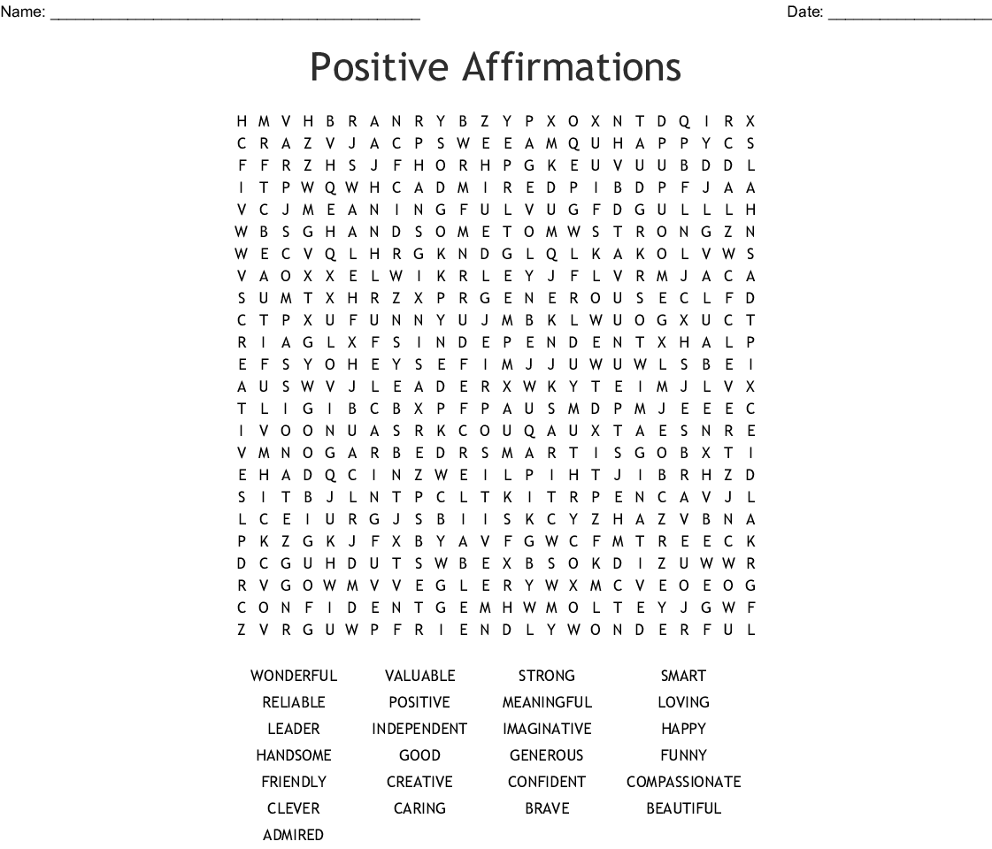 graphic about Printable Word Searches named Good Affirmations Phrase Seem - WordMint
