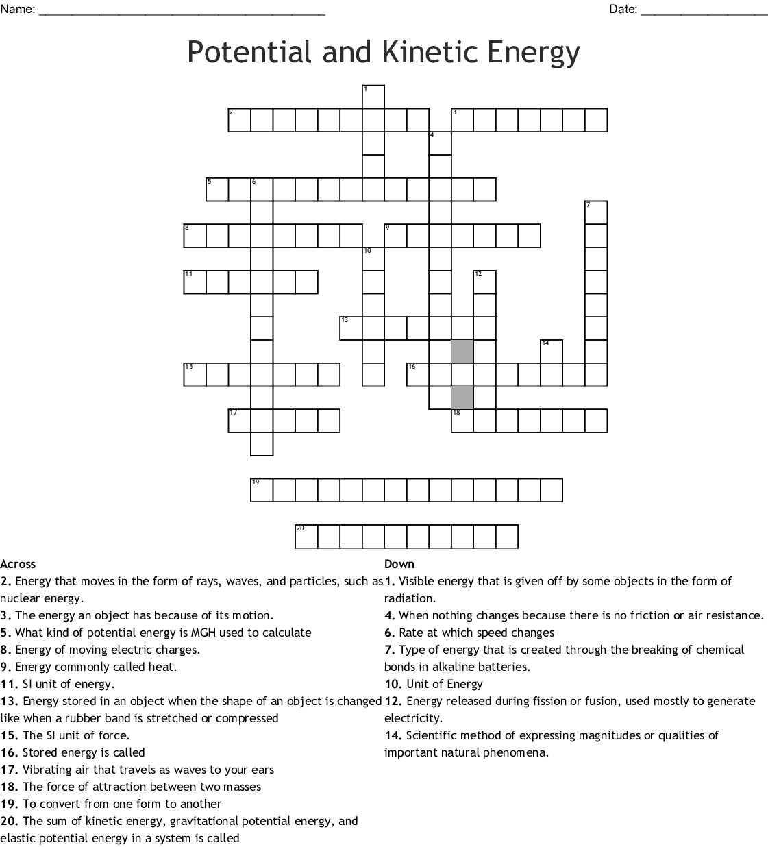 Energy Crossword Puzzle - WordMint
