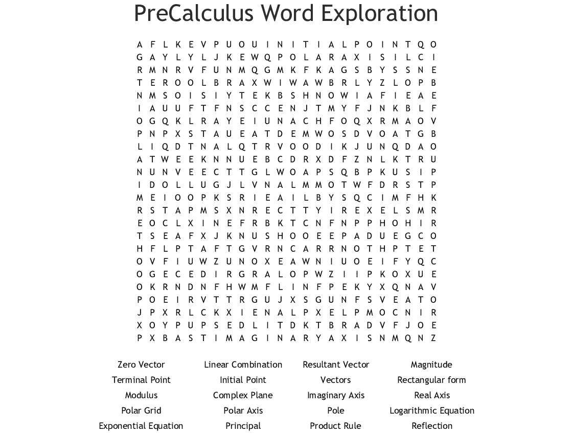 PreCalculus Word Exploration Word Search - WordMint