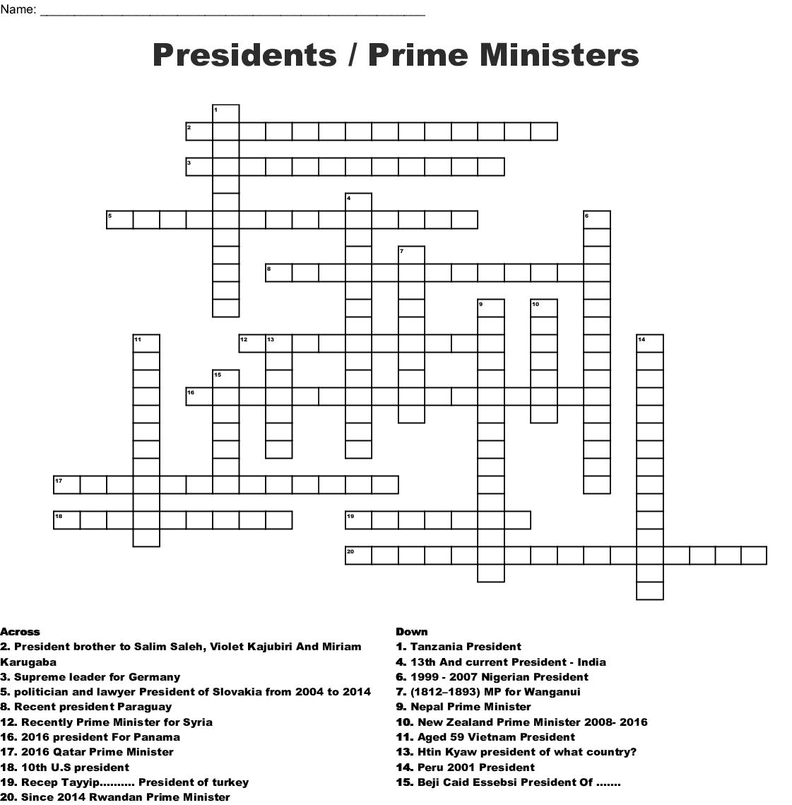 Presidents Prime Ministers Crossword Wordmint