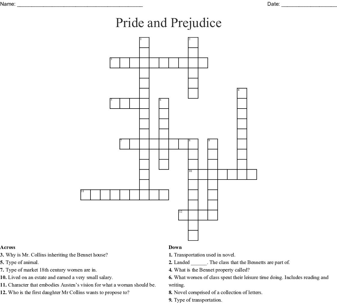 Pride And Prejudice Crossword Wordmint