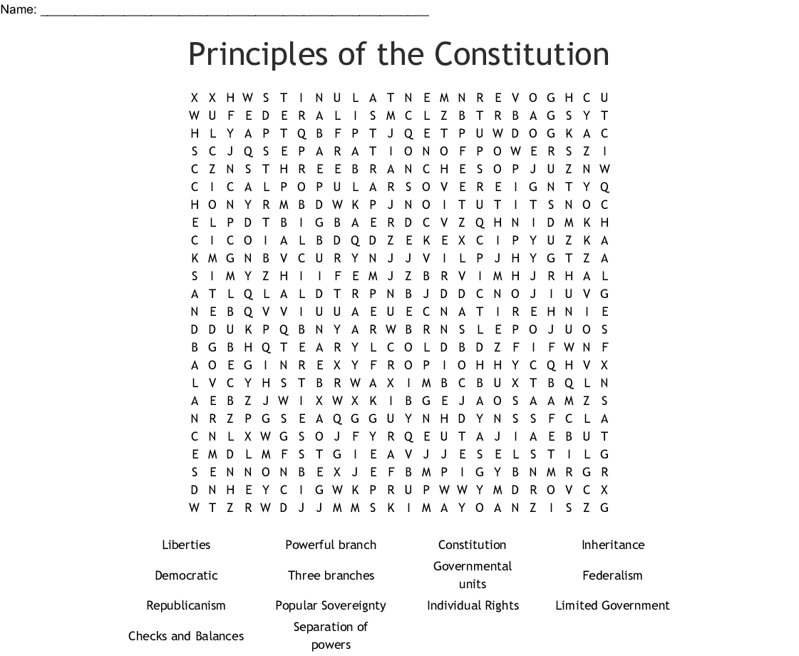 Principles of the Constitution Word Search - WordMint