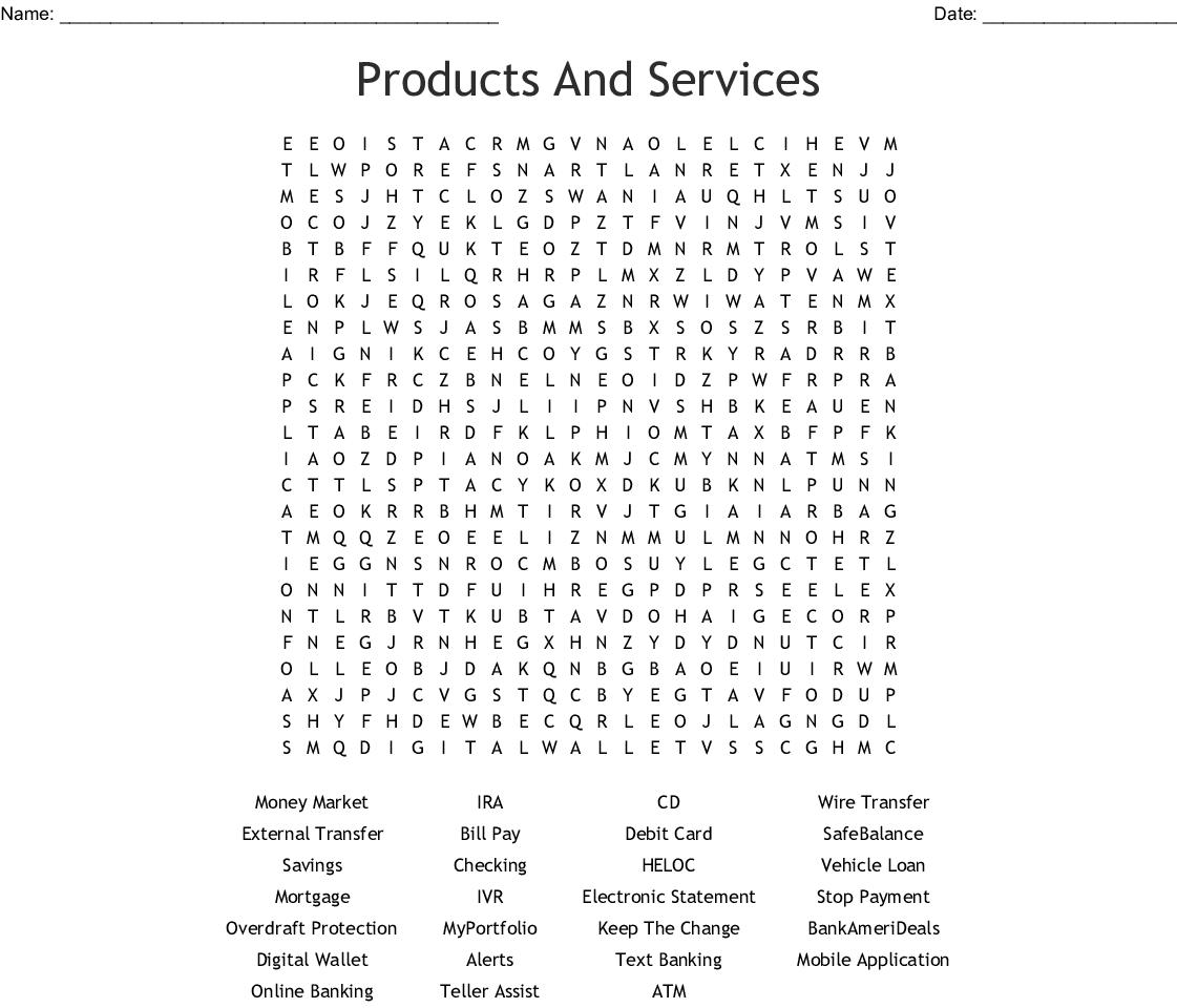 Wells Fargo Bank Word Search - WordMint