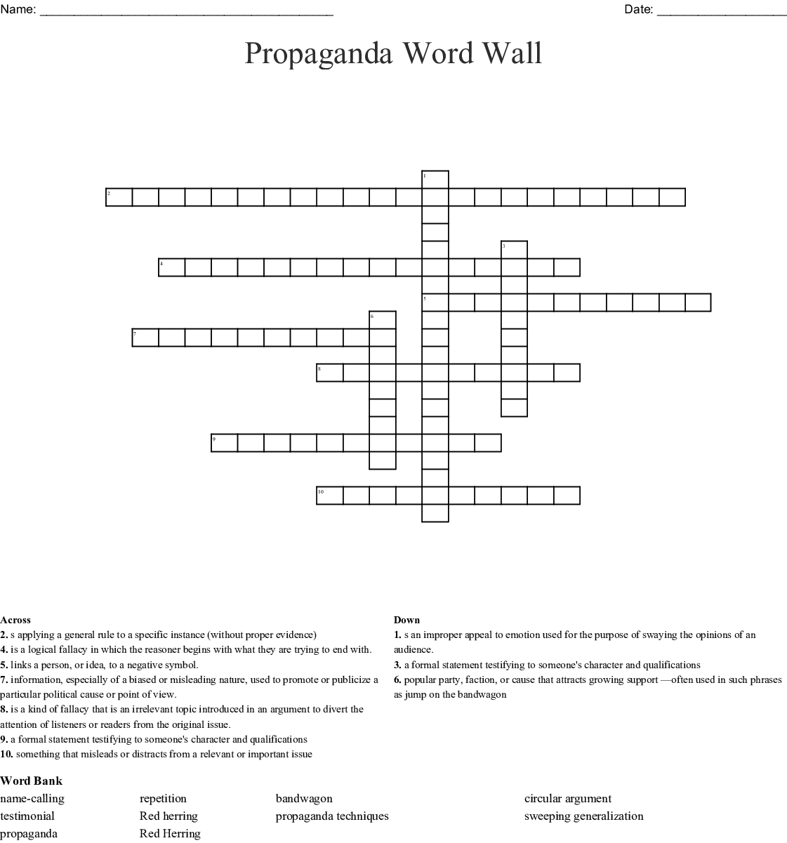Fallacies Of Argument Word Search Wordmint