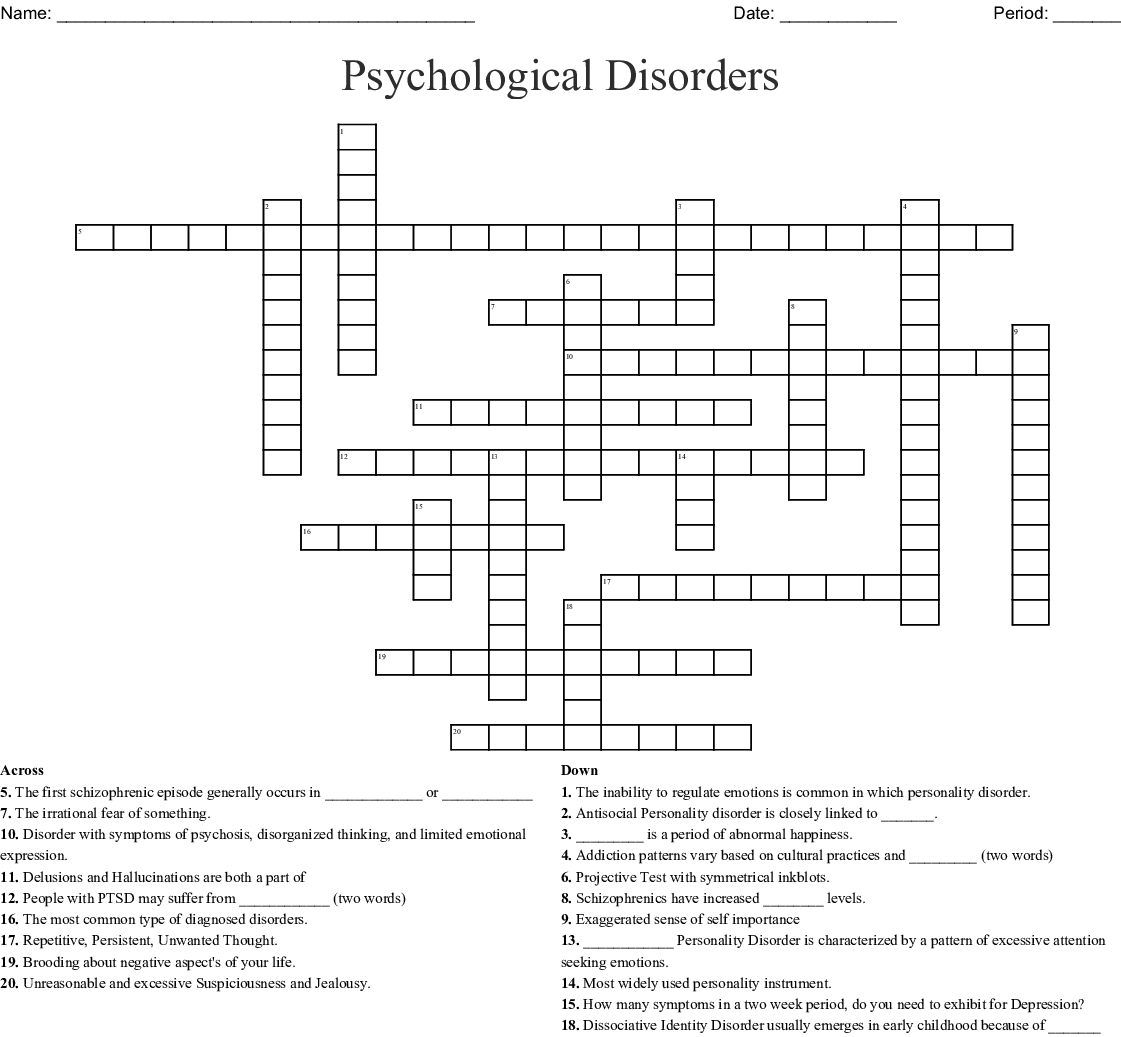 Psychological Disorders Crossword   WordMint