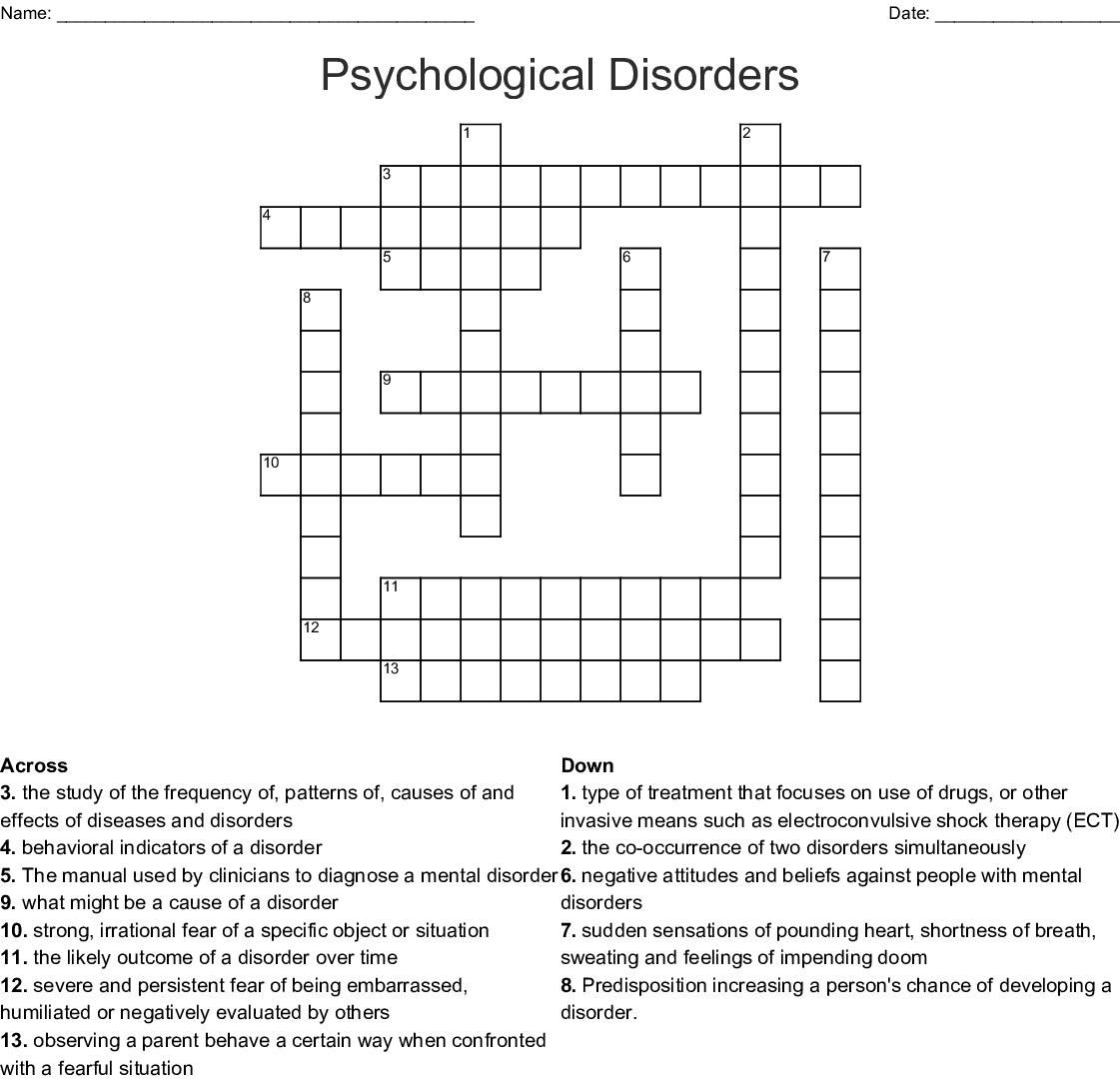 Psychological Disorders Crossword Wordmint