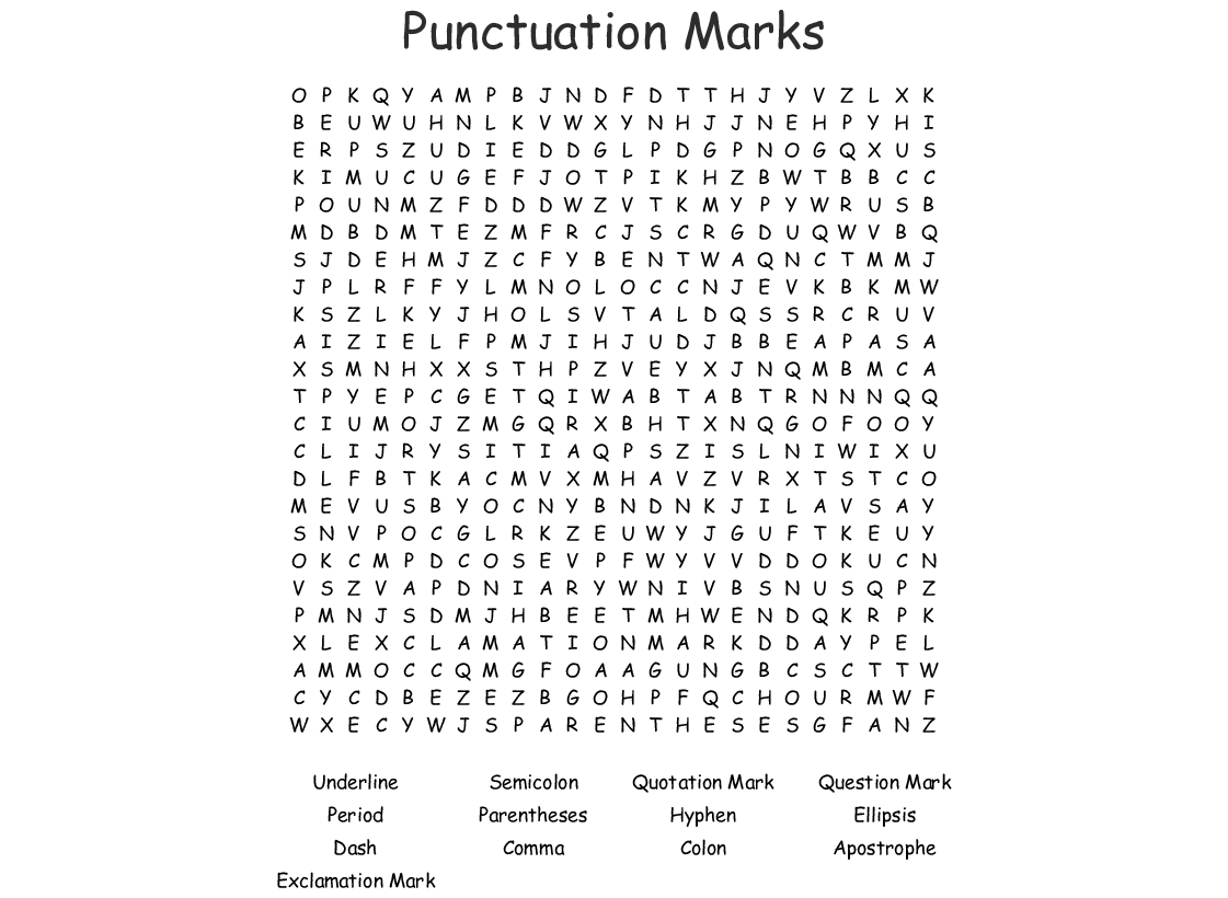 Punctuation Marks Word Search Wordmint