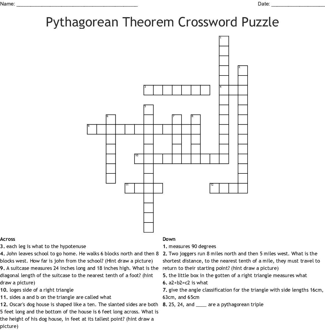 Pythagorean Theorem Crossword Puzzle Wordmint