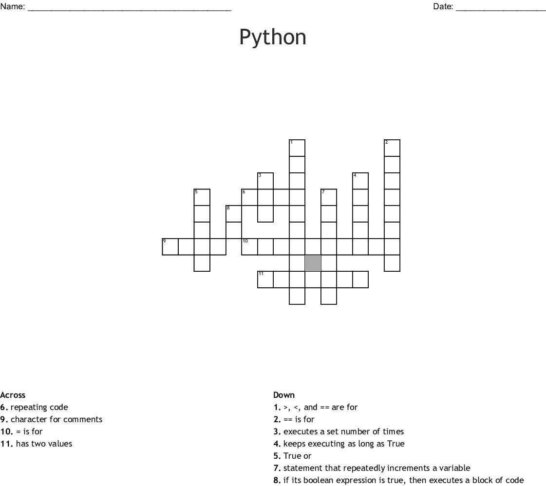 Python Crossword Wordmint