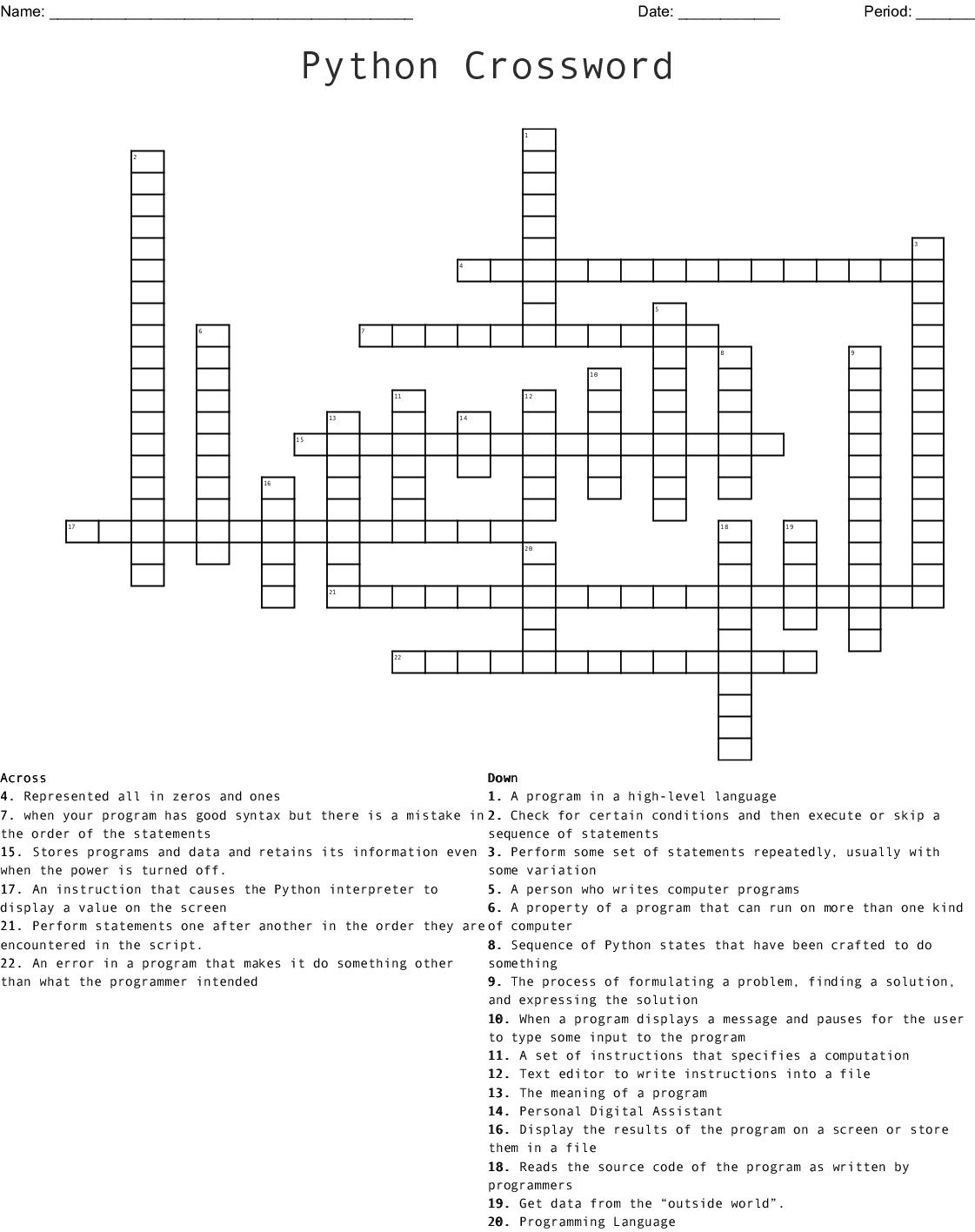 Computer Science Vocabulary Crossword Wordmint