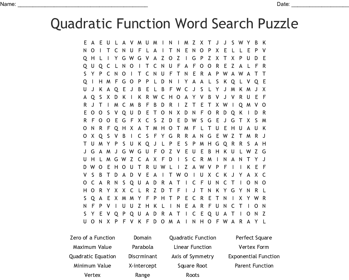 Quadratic Function Word Search Puzzle - WordMint