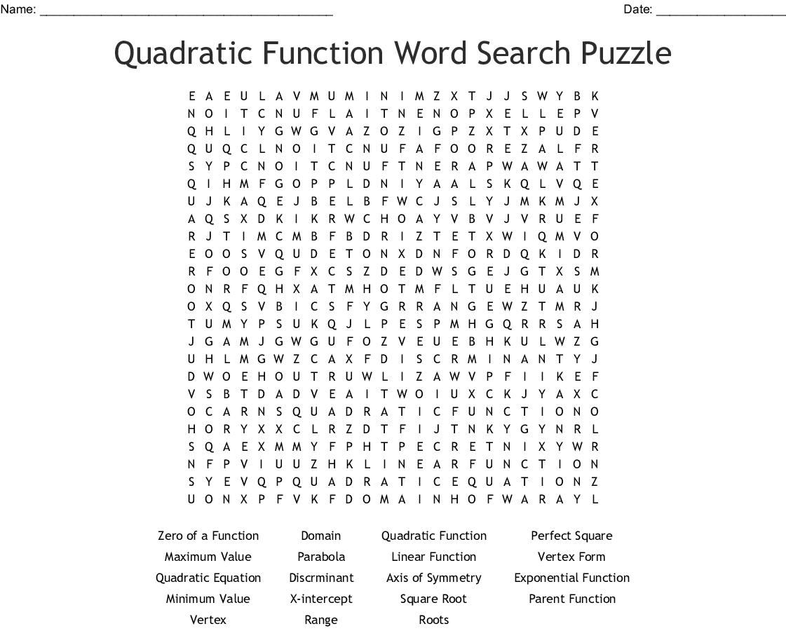 Unit 2 Quadratic Functions-Vocabulary Crossword - WordMint