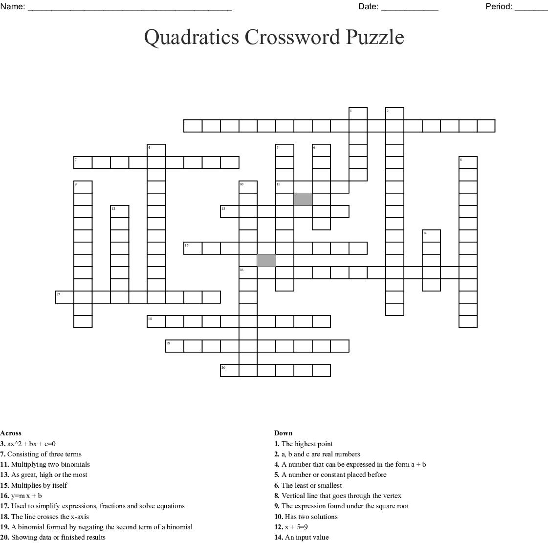 Quadratics Crossword Puzzle - WordMint