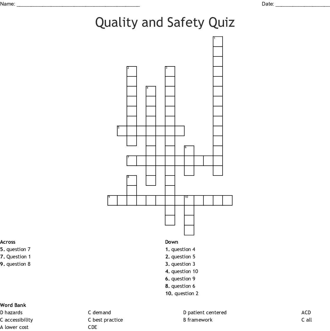 Quality And Safety Quiz Crossword Wordmint