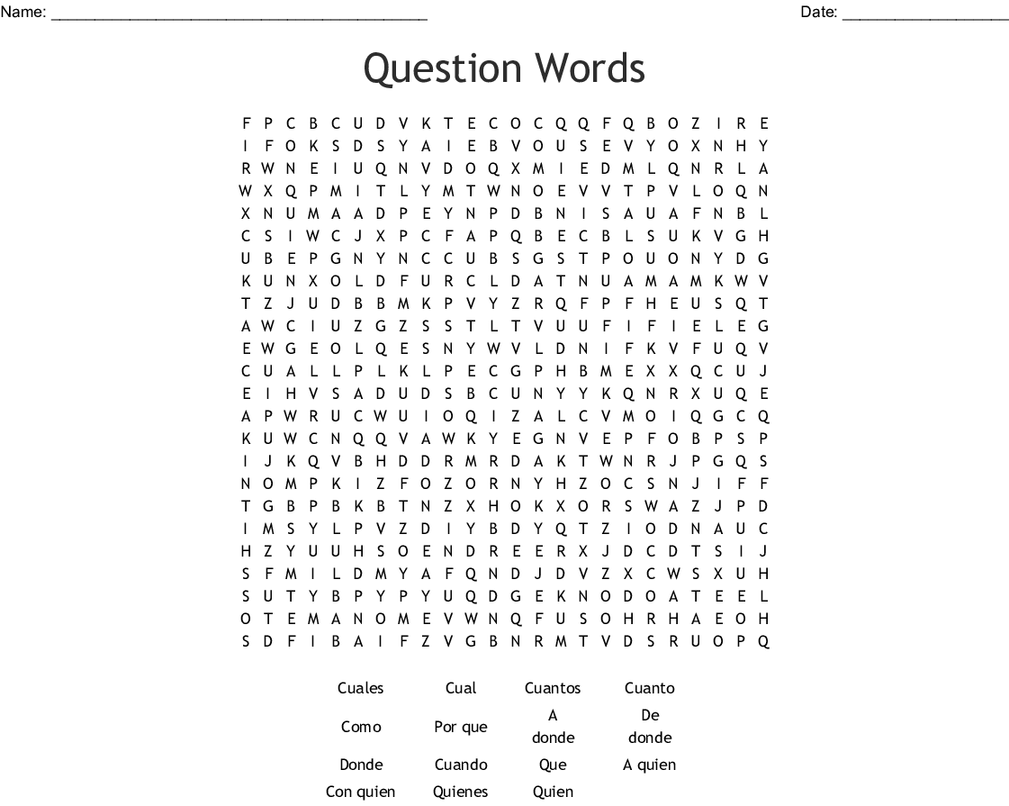 SPANISH QUESTION WORDS Word Search - WordMint
