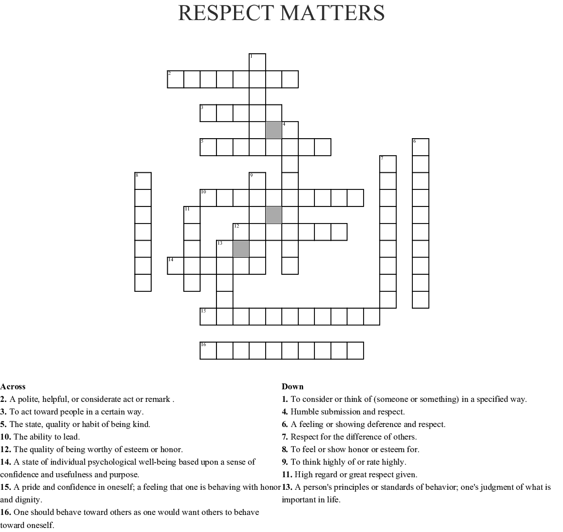 Respect Matters Crossword Wordmint