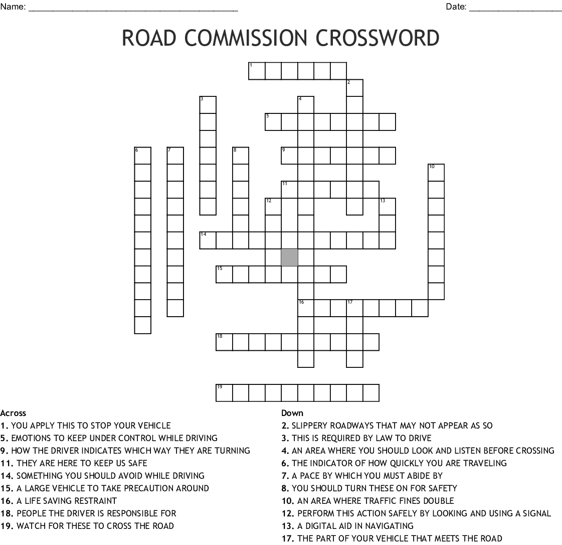 Road Safety Crossword Wordmint