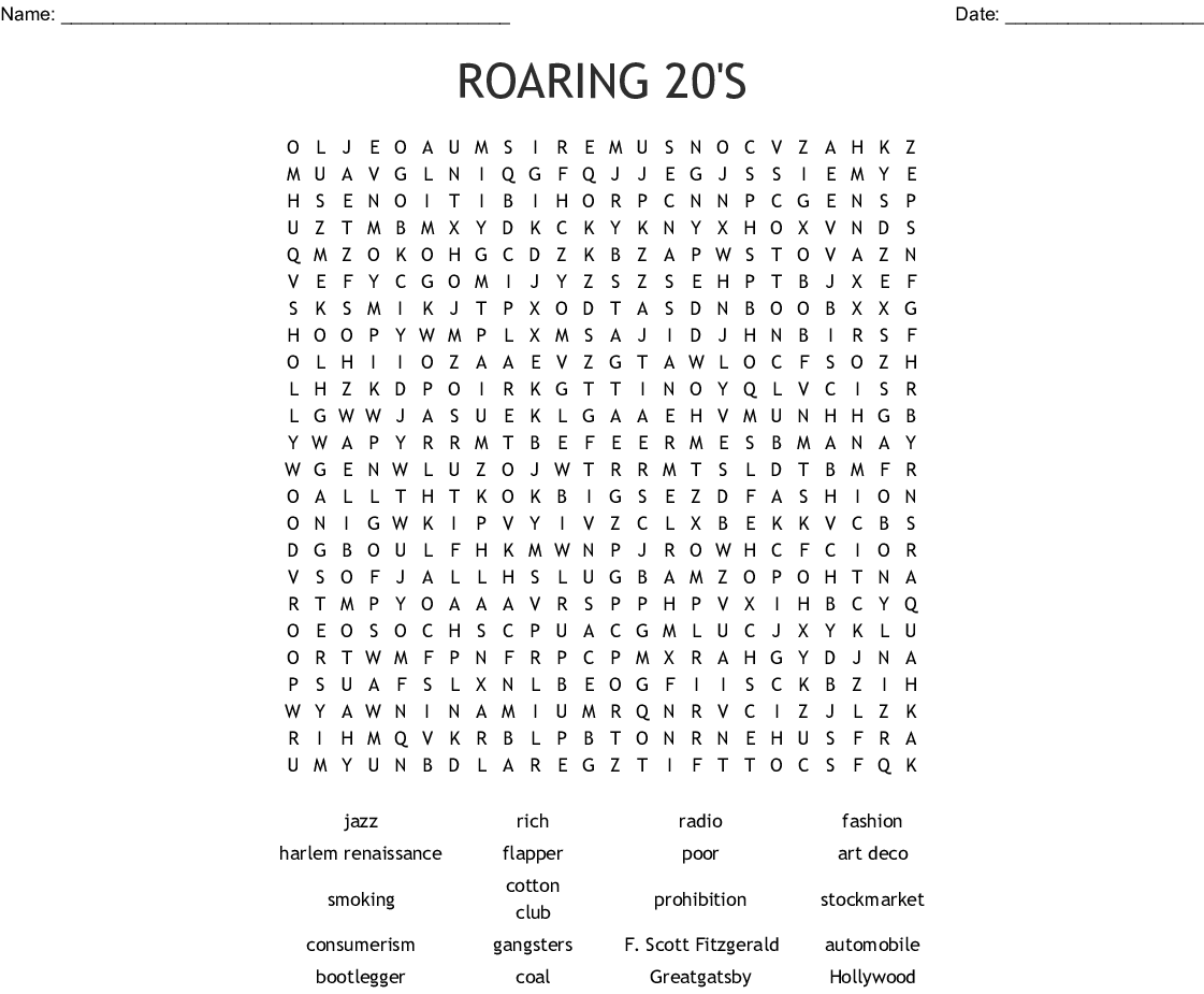 ROARING 20'S Word Search - WordMint