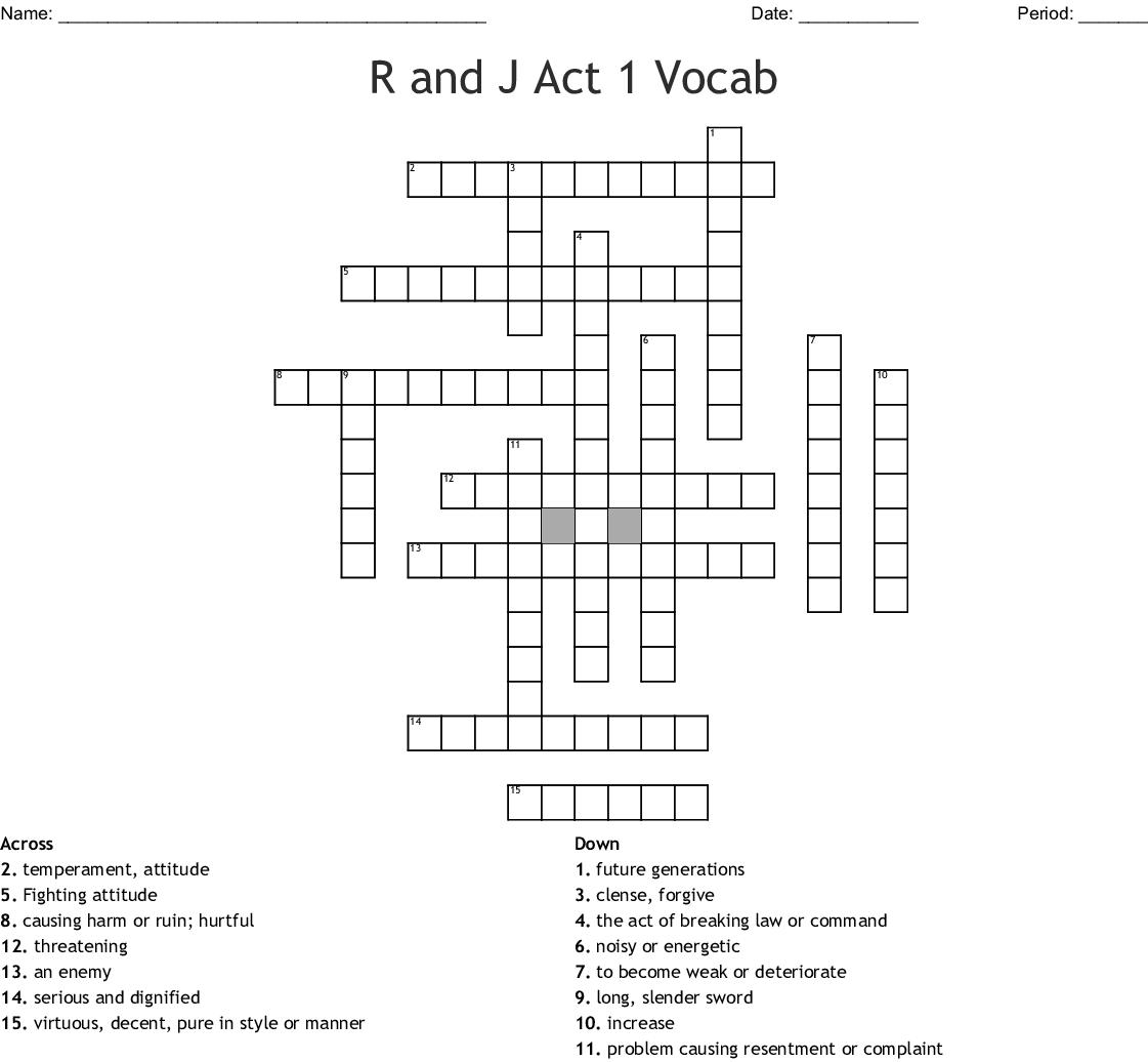 R And J Act 1 Vocab Crossword Wordmint