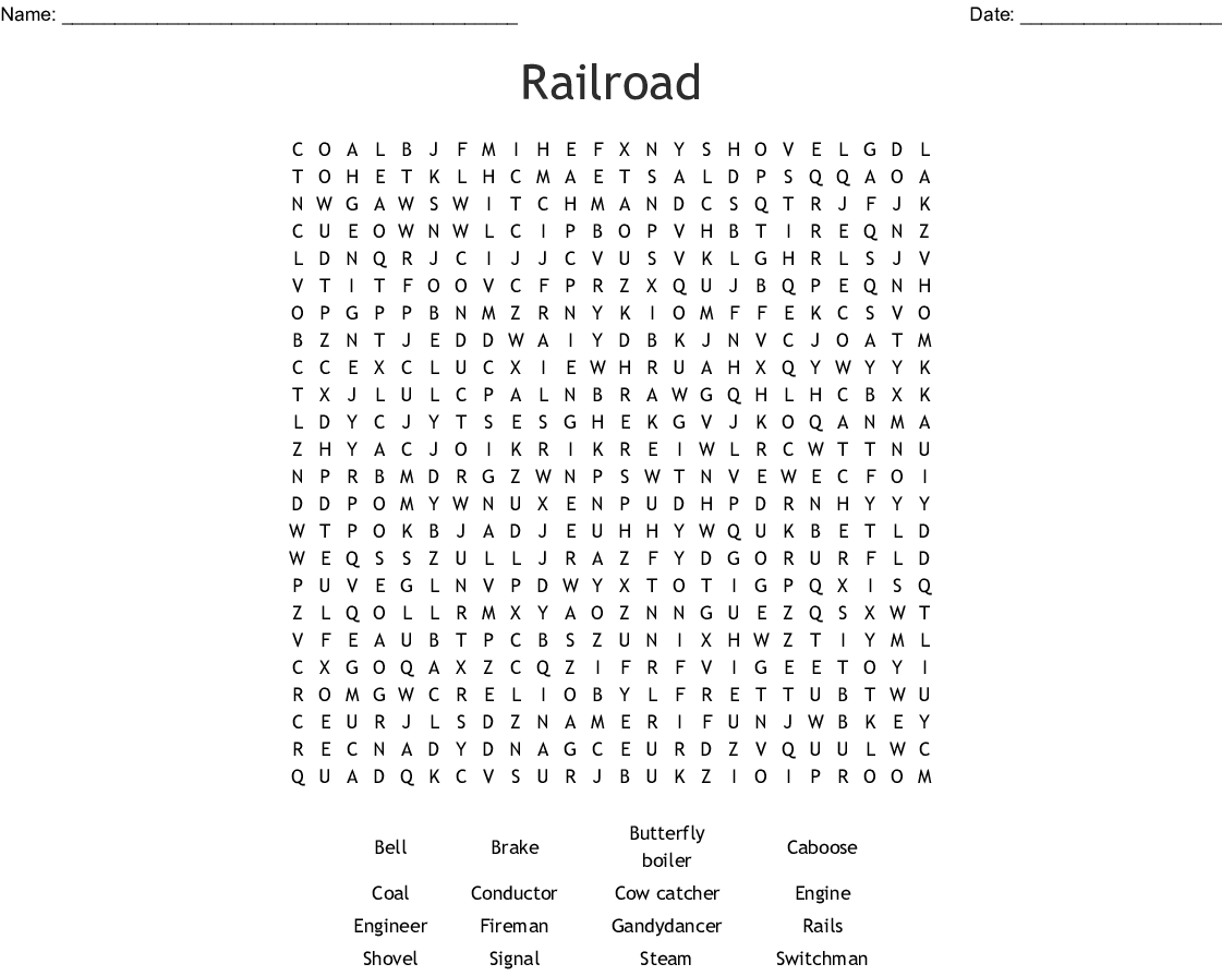 Trains Word Search - WordMint
