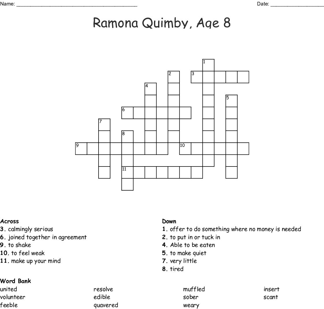 Ramona Quimby Age 8 Crossword Wordmint